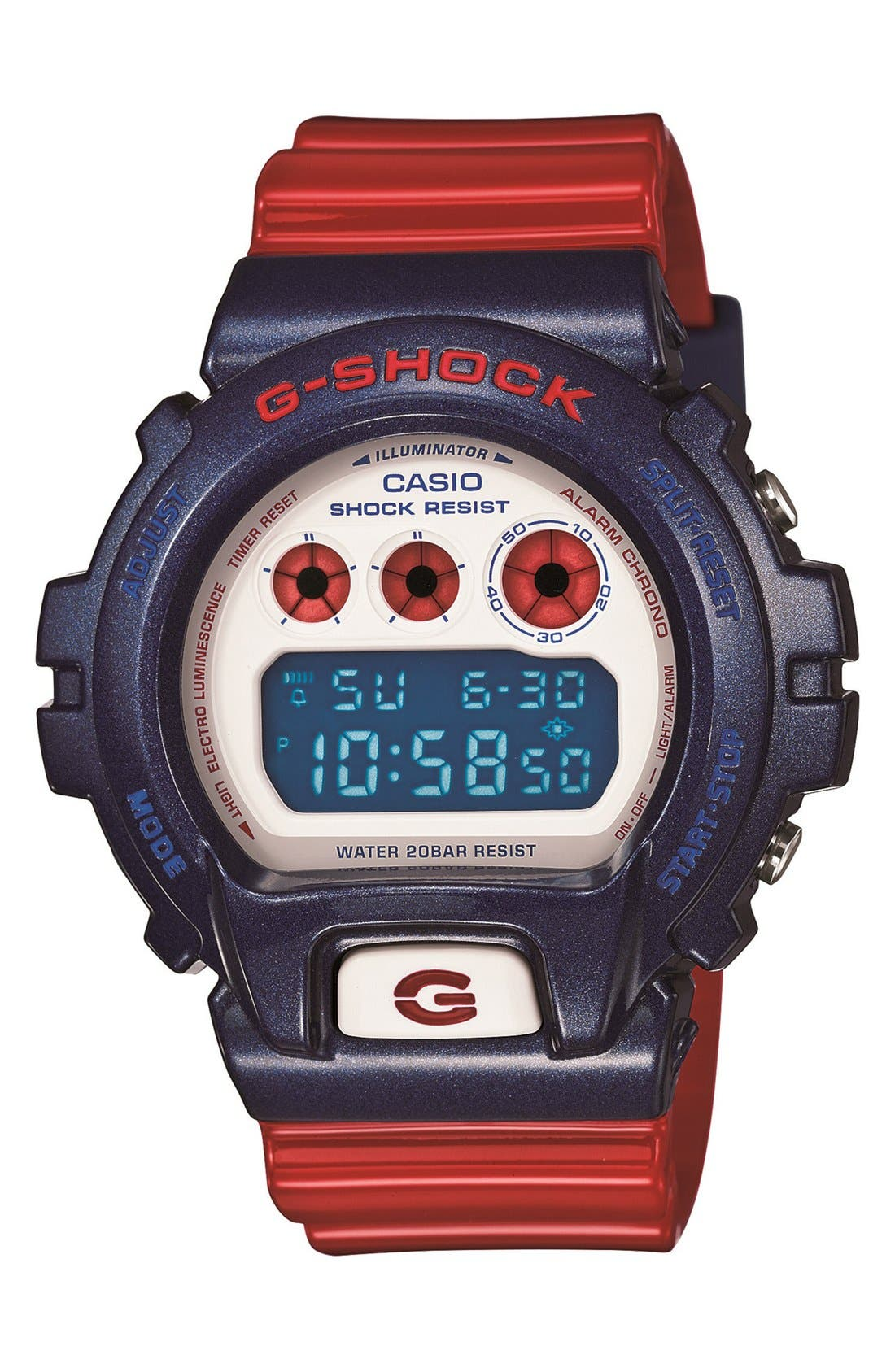 Main Image - G-Shock Tricolor Digital Watch, 53mm x 50mm