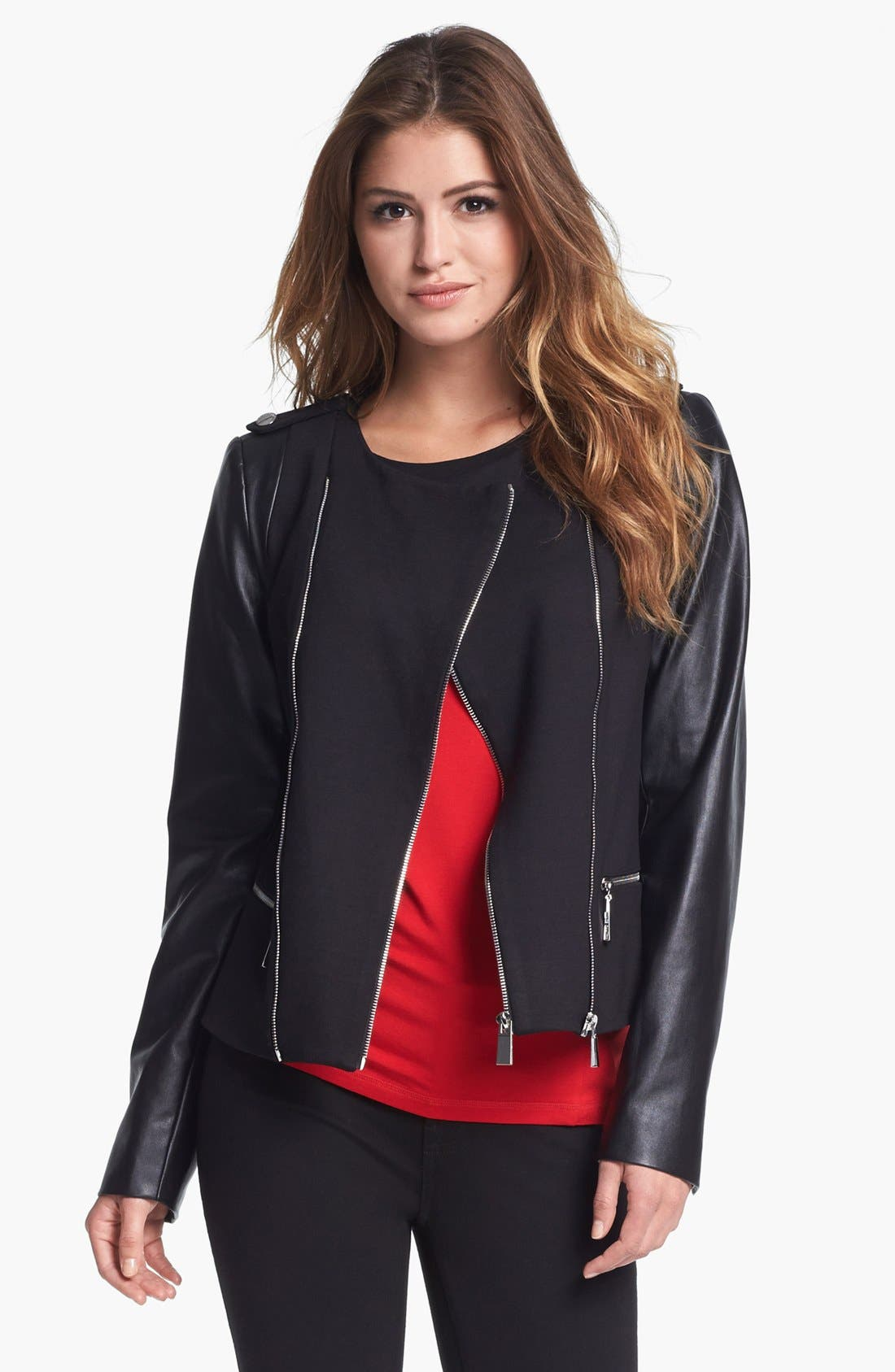 Alternate Image 2  - Vince Camuto Ponte & Faux Leather Moto Jacket (Nordstrom Exclusive)