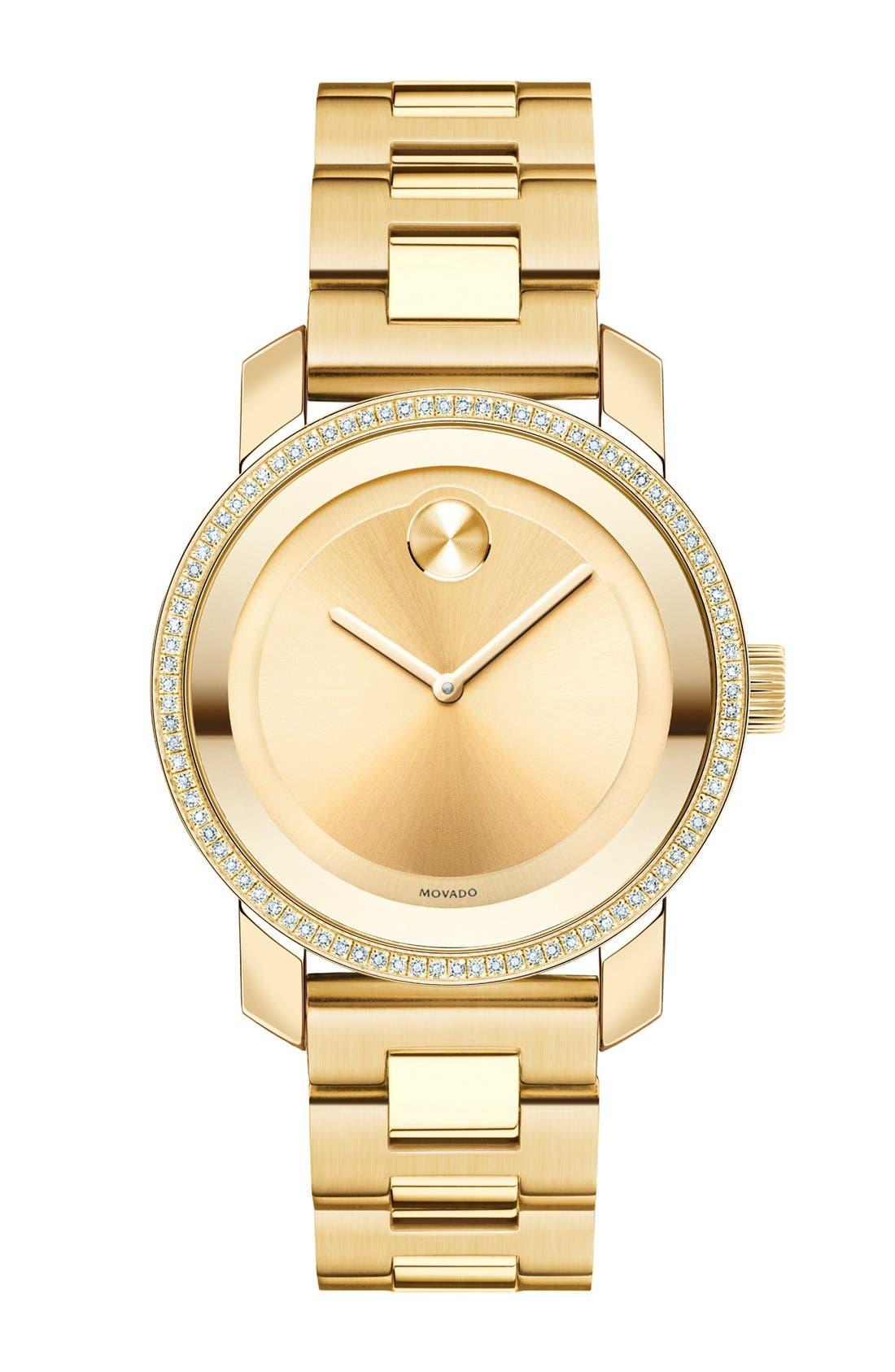 'Bold' Diamond Bezel Bracelet Watch, 36mm,                         Main,                         color, Gold