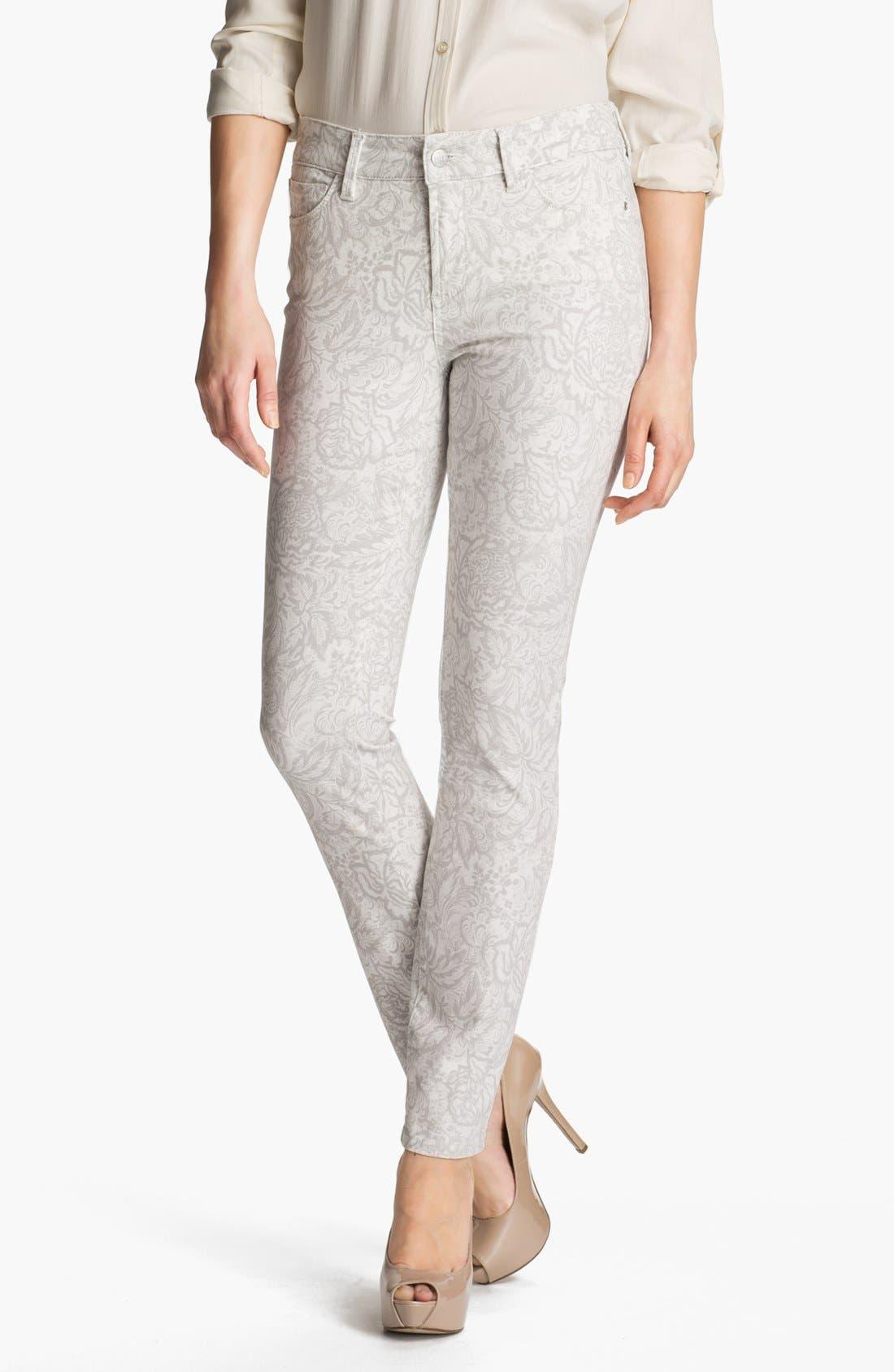 Alternate Image 1 Selected - NYDJ 'Alisha' Print Skinny Stretch Ankle Jeans (Petite)