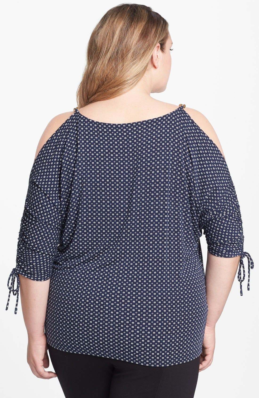 Alternate Image 2  - MICHAEL Michael Kors 'Jive' Print Cold Shoulder Top (Plus Size)