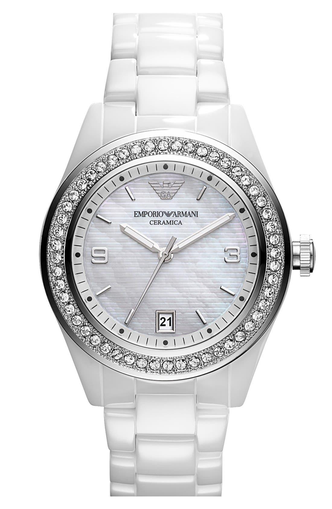 Main Image - Emporio Armani Medium Round Crystal & Ceramic Watch, 39mm