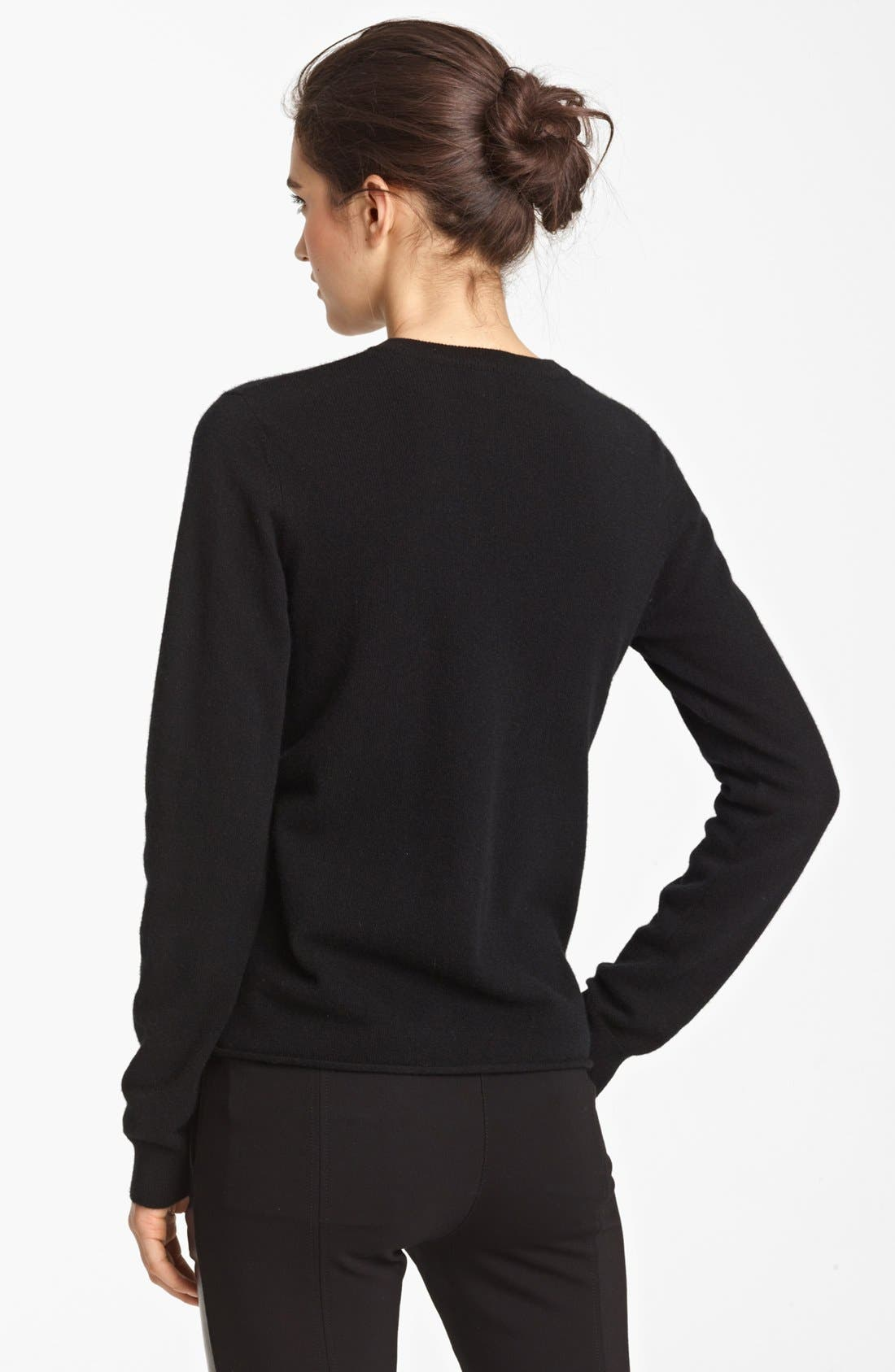 Cheap & Chic Graphic Cashmere Sweater,                             Alternate thumbnail 2, color,                             Black