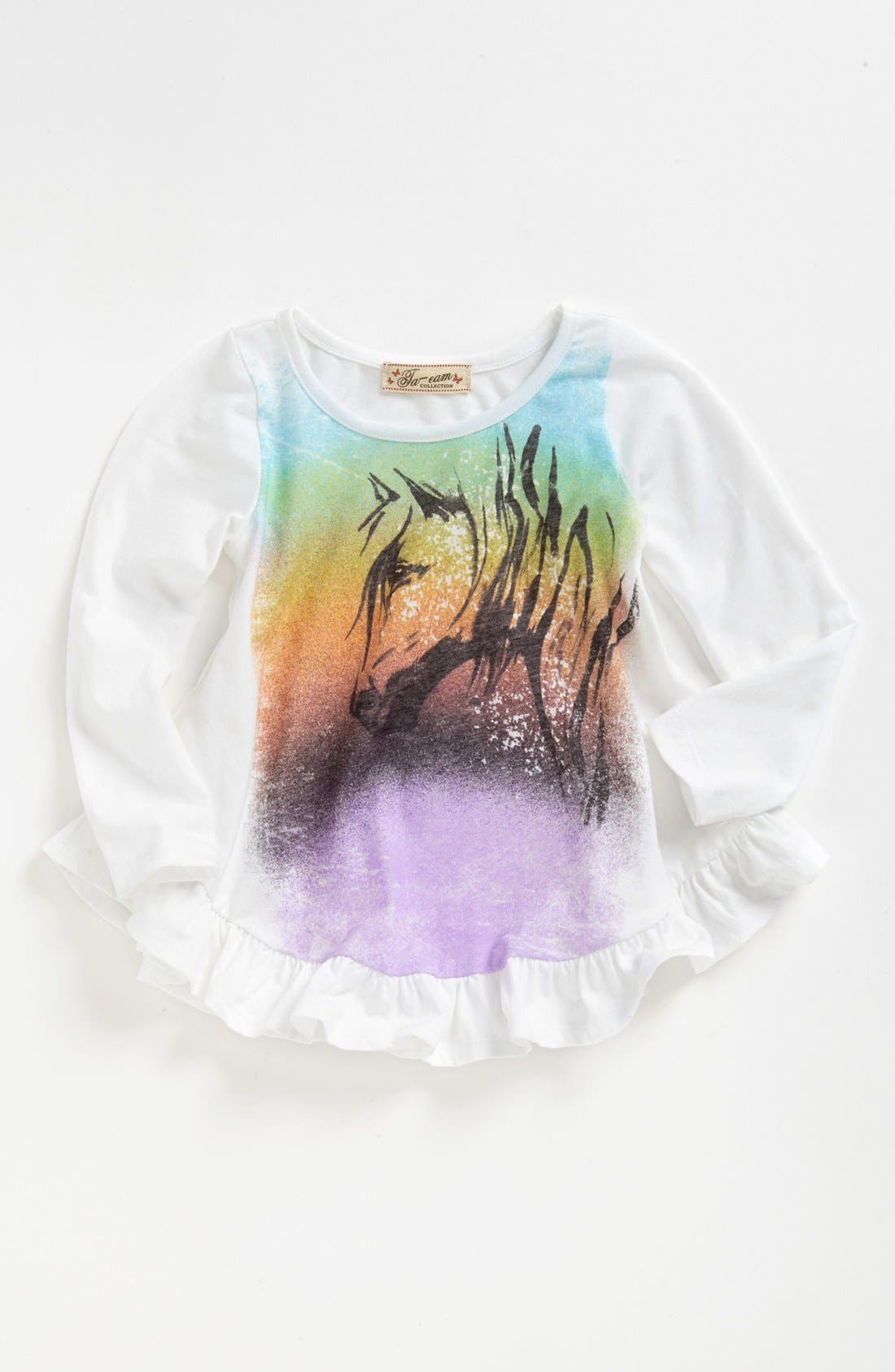 Main Image - TA-EAM Graphic Ruffle Top (Toddler Girls)
