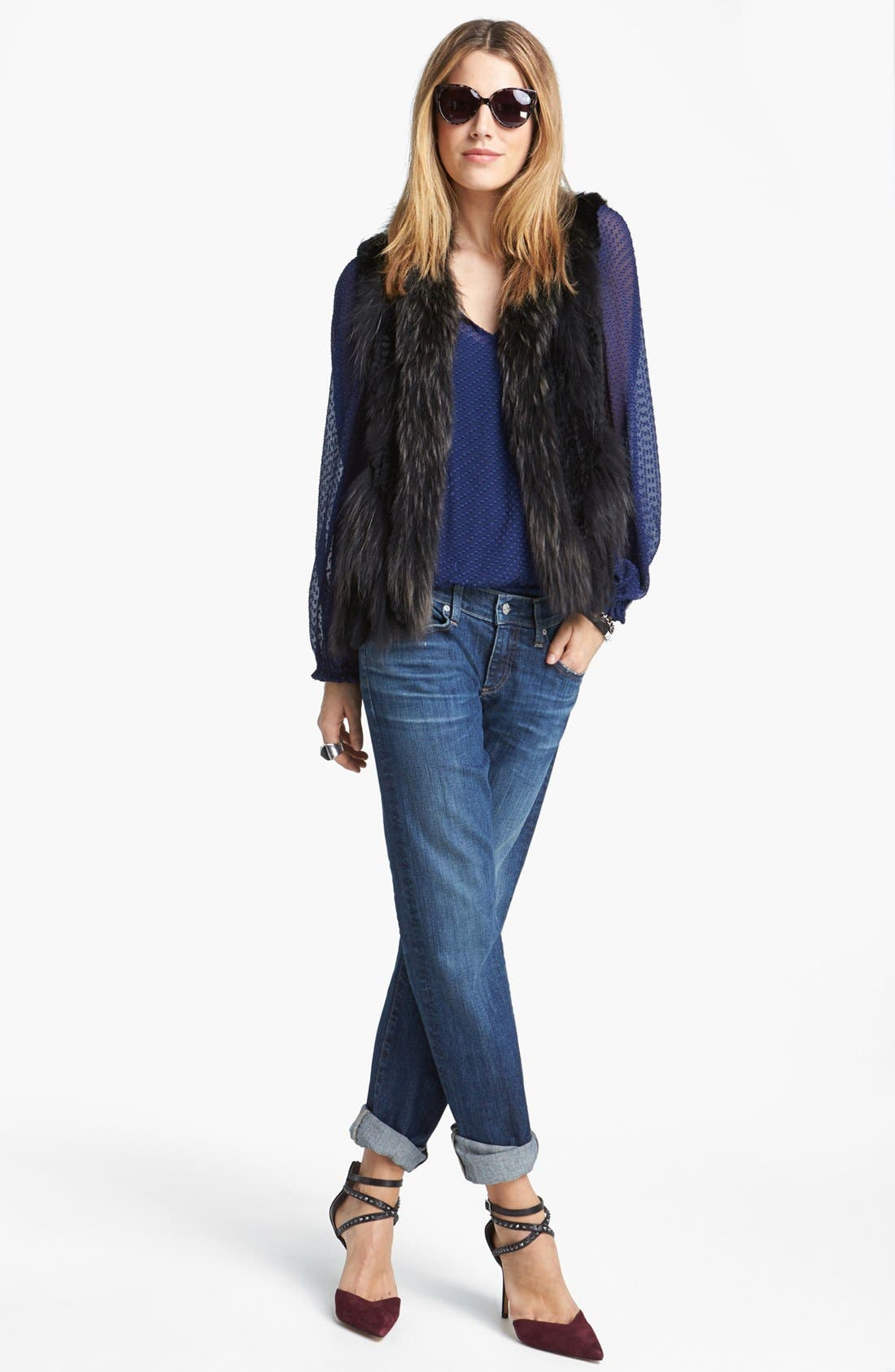 Alternate Image 1 Selected - AG Jeans Relaxed Jeans, Ella Moss Top & Linda Richards Vest