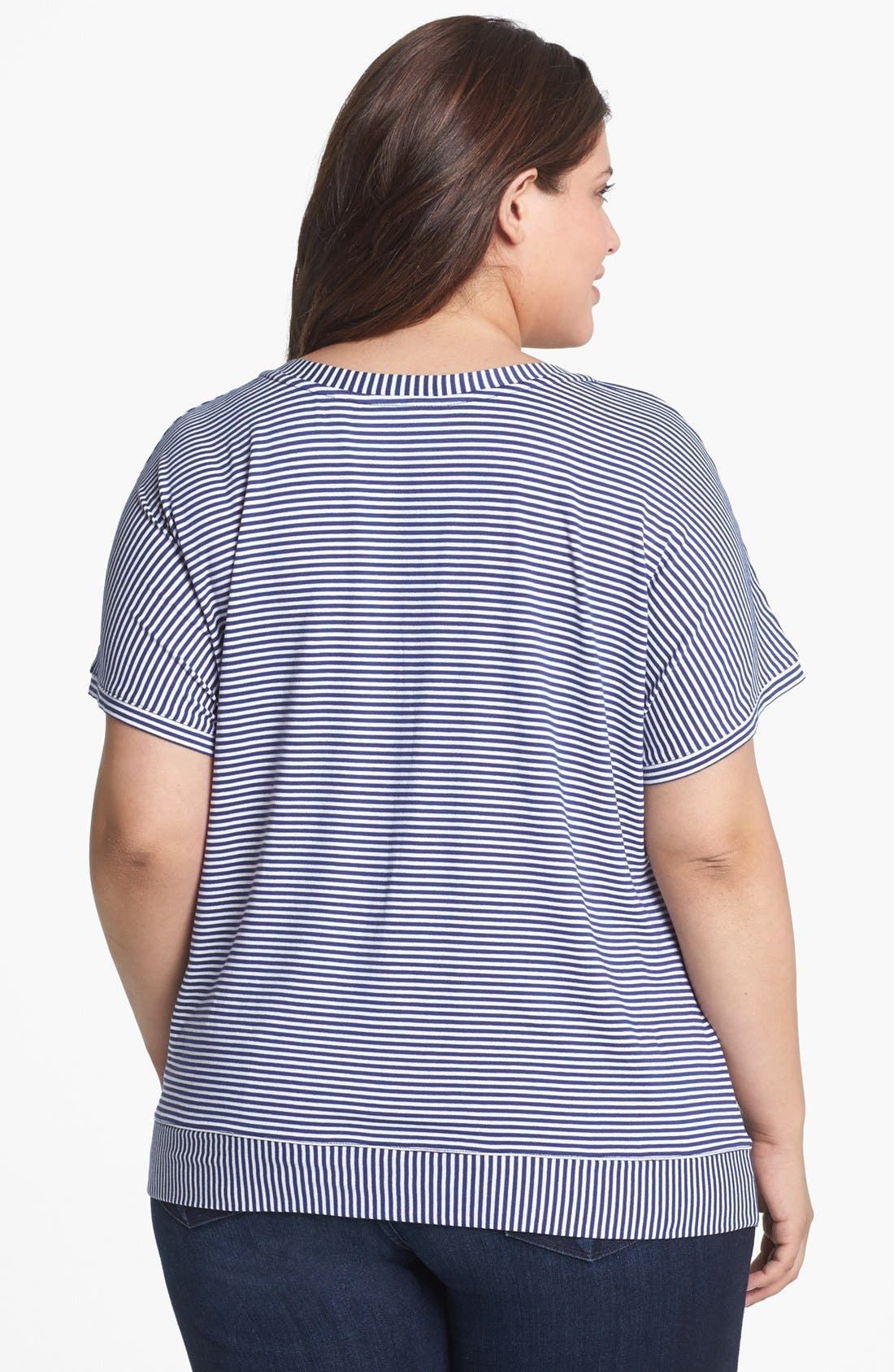 Alternate Image 2  - Sejour Mitered Stripe V-Neck Tee (Plus Size)