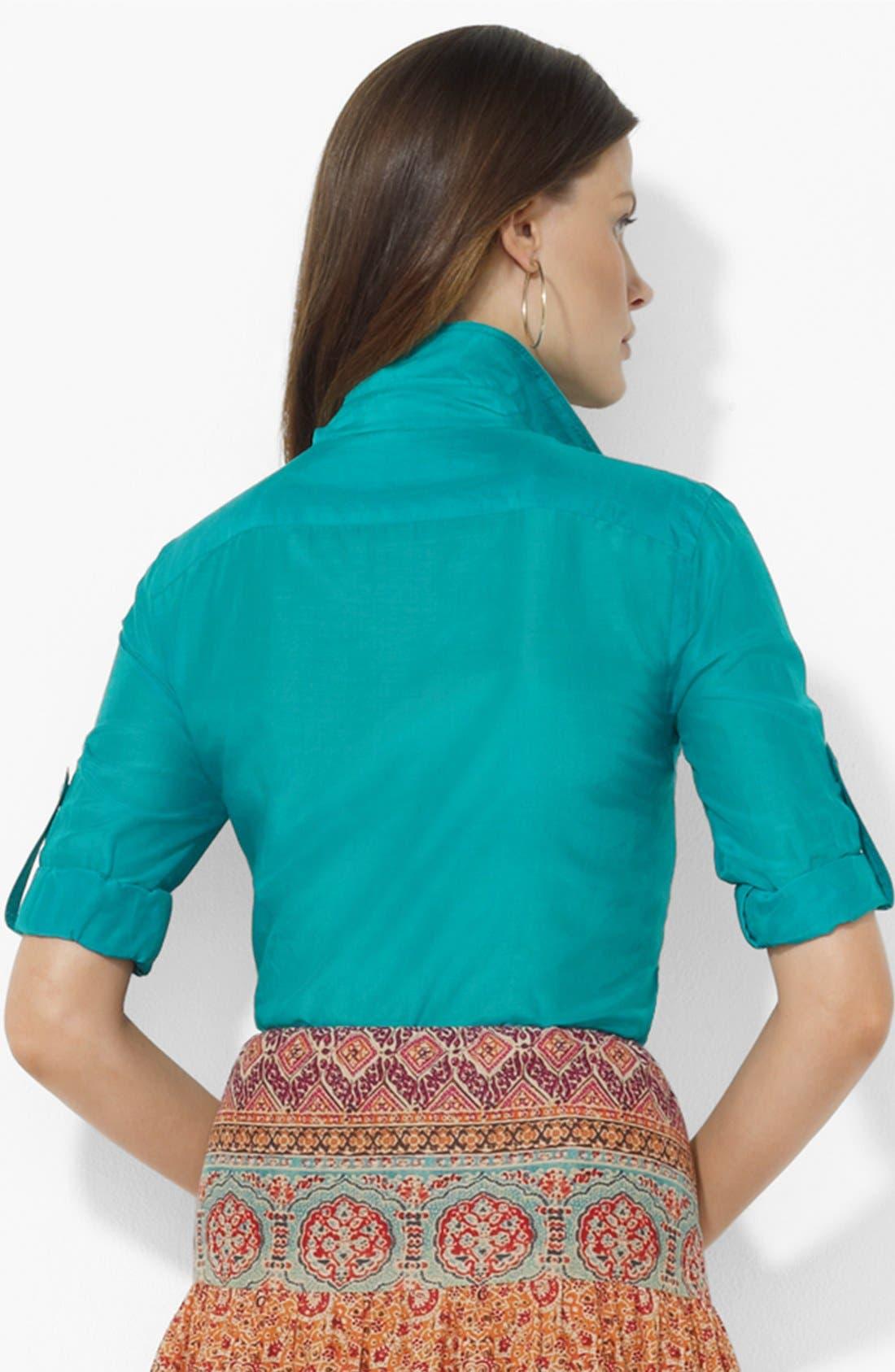 Alternate Image 2  - Lauren Ralph Lauren Roll Sleeve Work Shirt