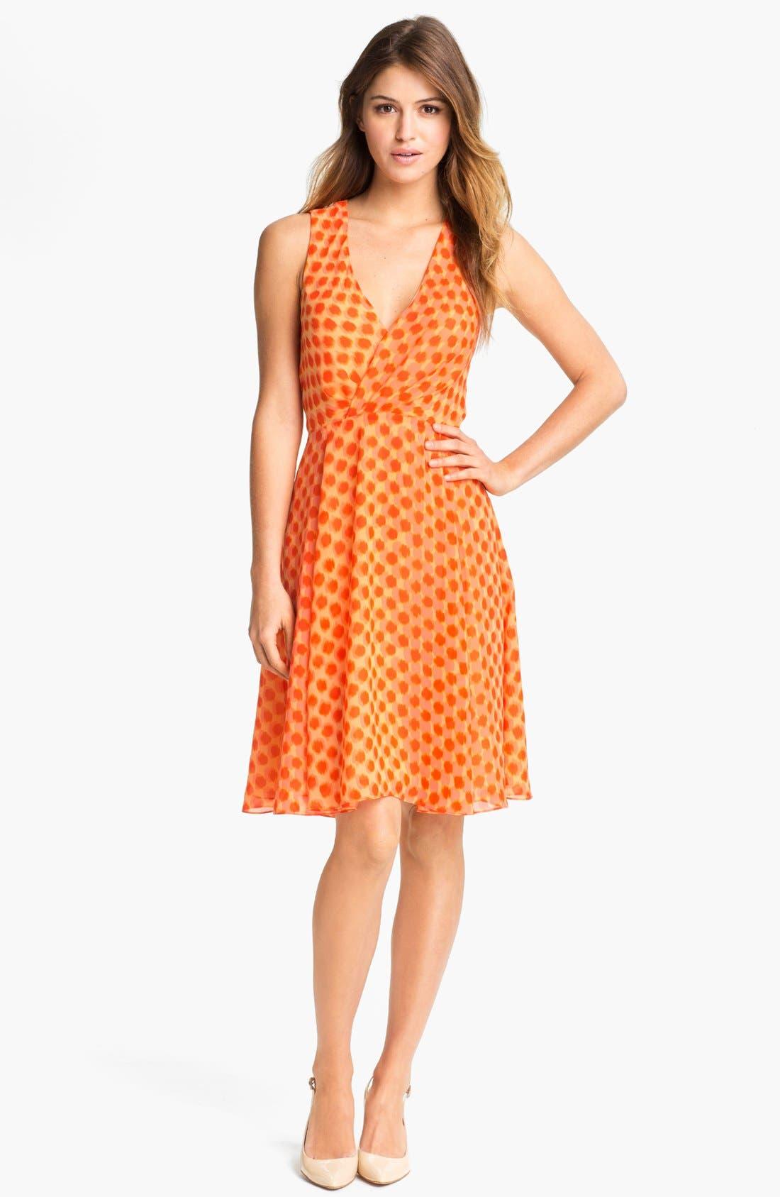 Alternate Image 1 Selected - Vince Camuto Dot Faux Wrap Dress (Petite)