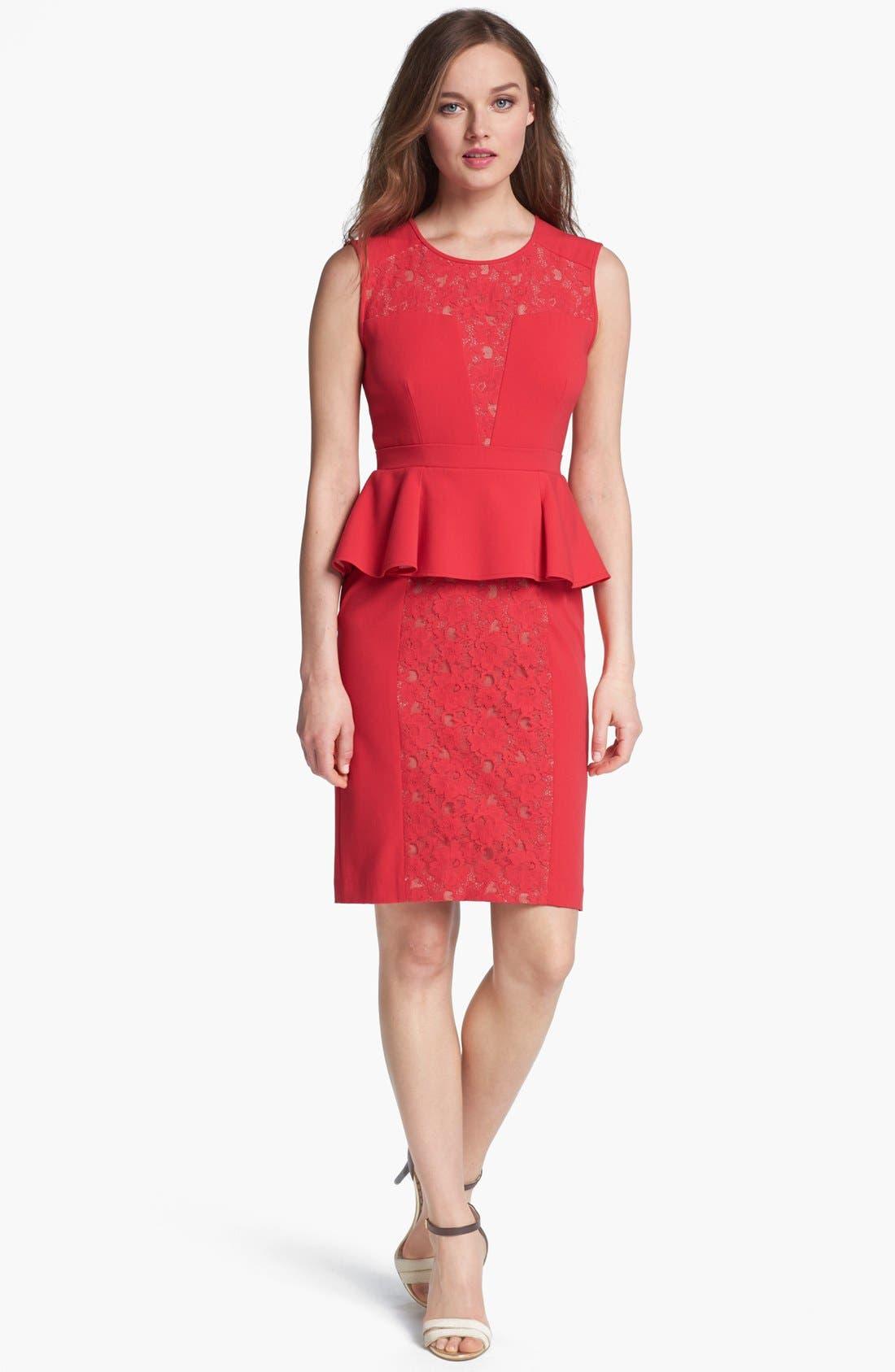 Alternate Image 1 Selected - BCBGMAXAZRIA Lace Inset Peplum Sheath Dress