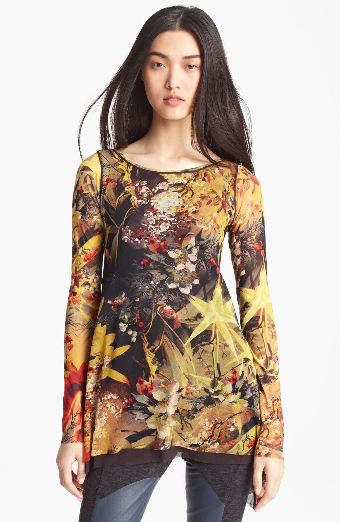Main Image - Jean Paul Gaultier Fuzzi Floral Print Tulle Tunic