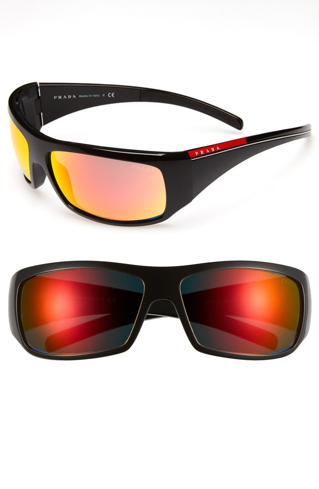 Alternate Image 1 Selected - Prada 65mm Wraparound Sunglasses
