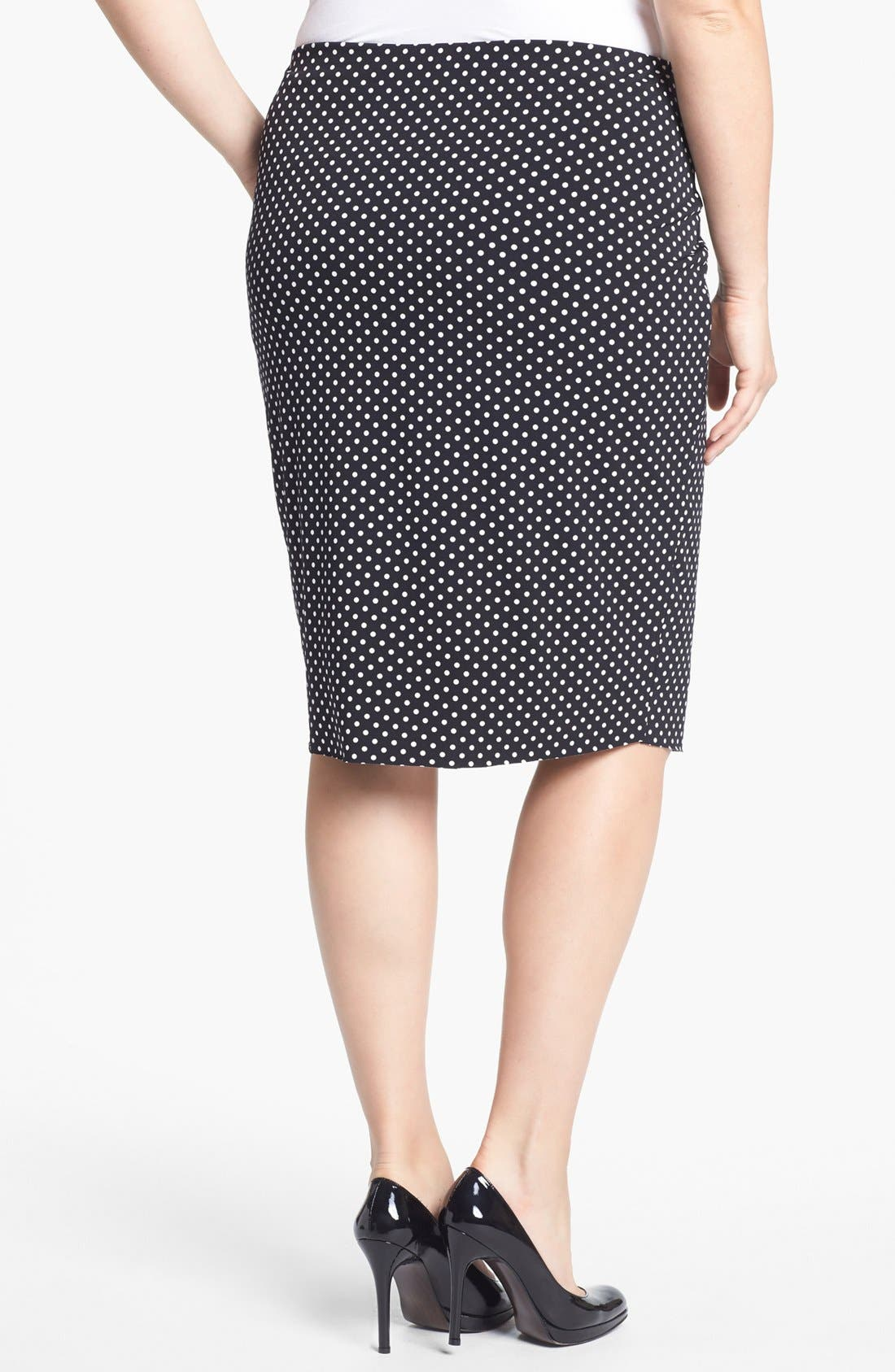 Alternate Image 2  - Vince Camuto Polka Dot Midi Tube Skirt (Plus Size)