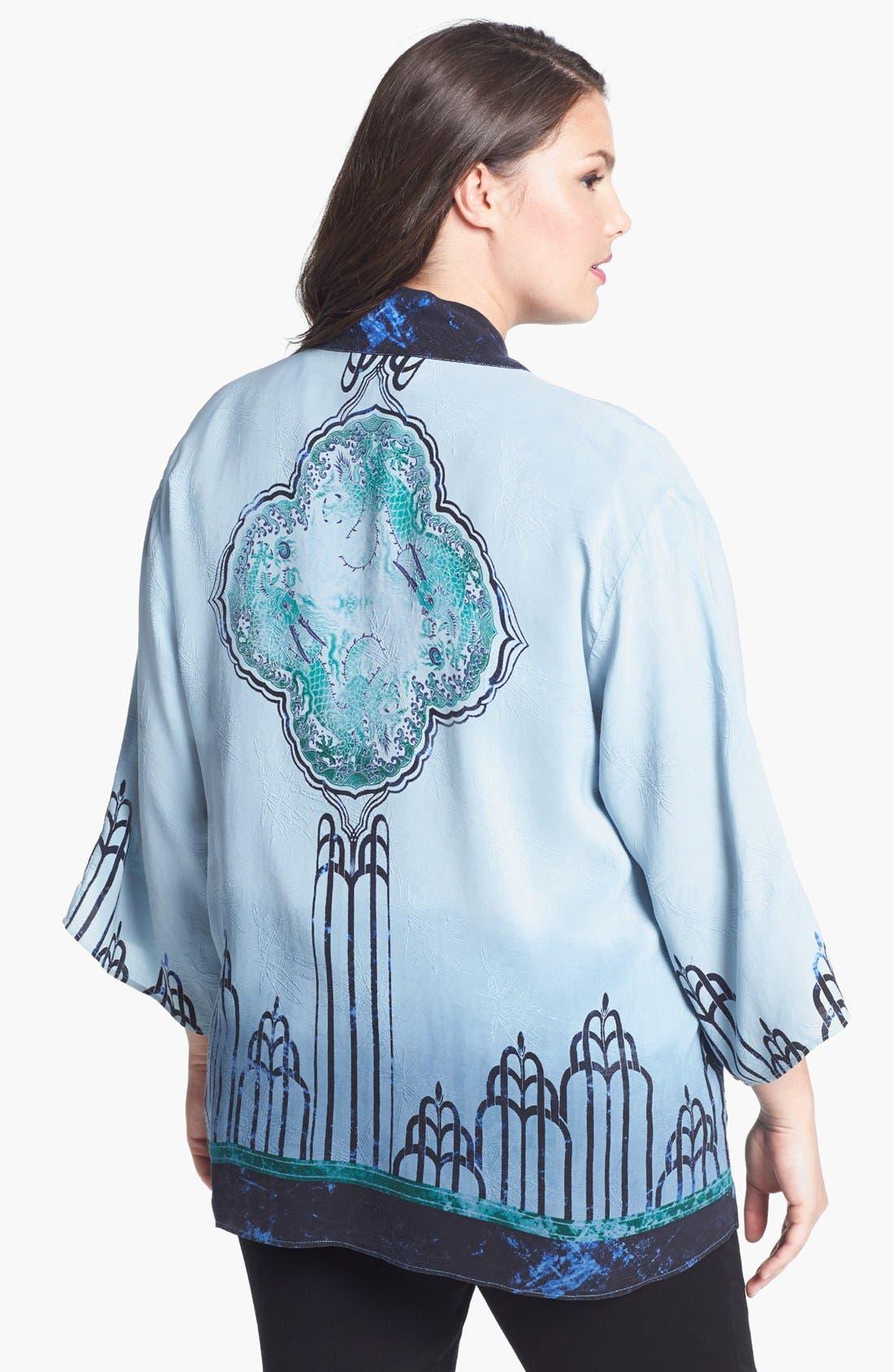 Alternate Image 2  - Citron Deco Print Silk Jacket (Plus Size)