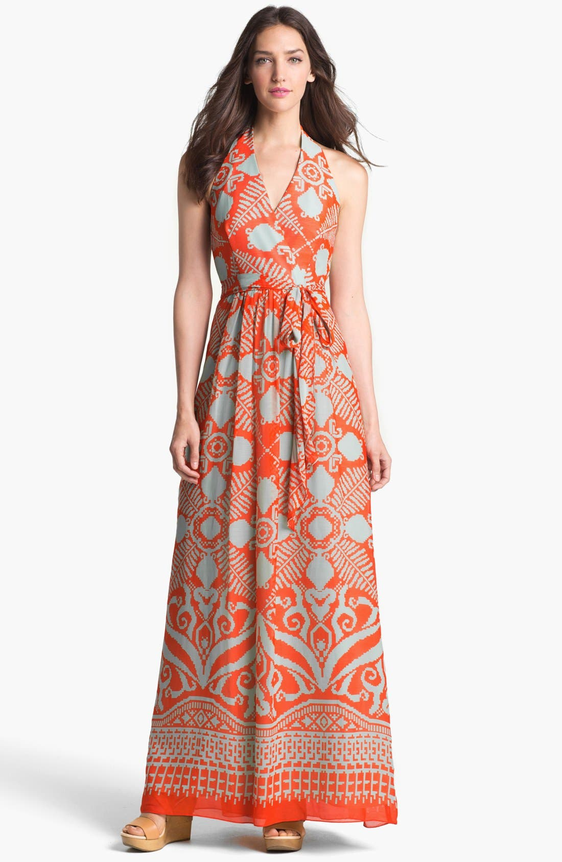 Alternate Image 1 Selected - Milly 'Gustavia' Cotton & Silk Halter Dress