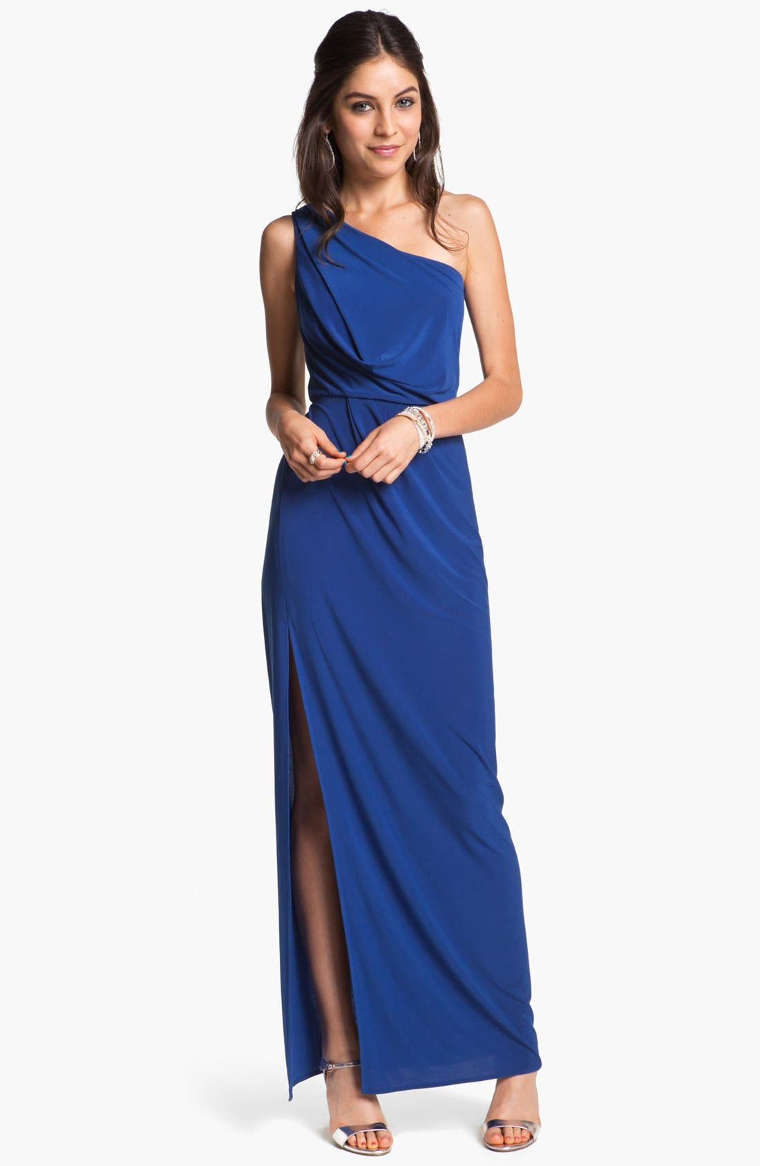 Alternate Image 1 Selected - Hailey by Adrianna Papell One-Shoulder Jersey Gown