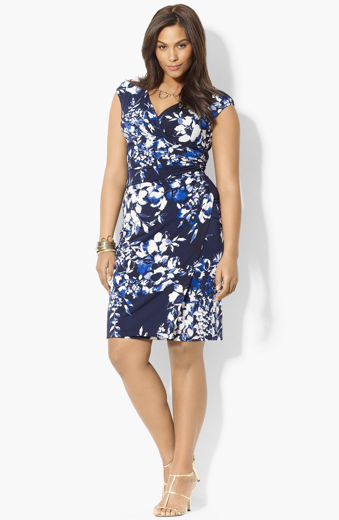 Main Image - Lauren Ralph Lauren Floral Print Jersey Dress (Plus Size)