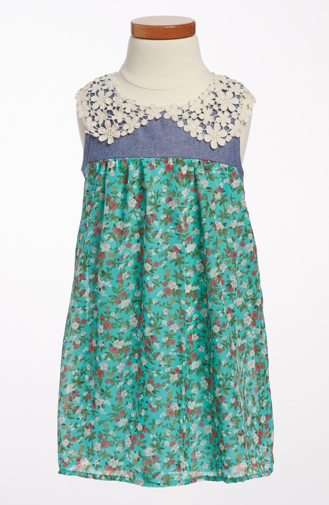 Alternate Image 1 Selected - Jenna & Jessie 'Ditsy Floral' Chiffon Dress (Toddler Girls)