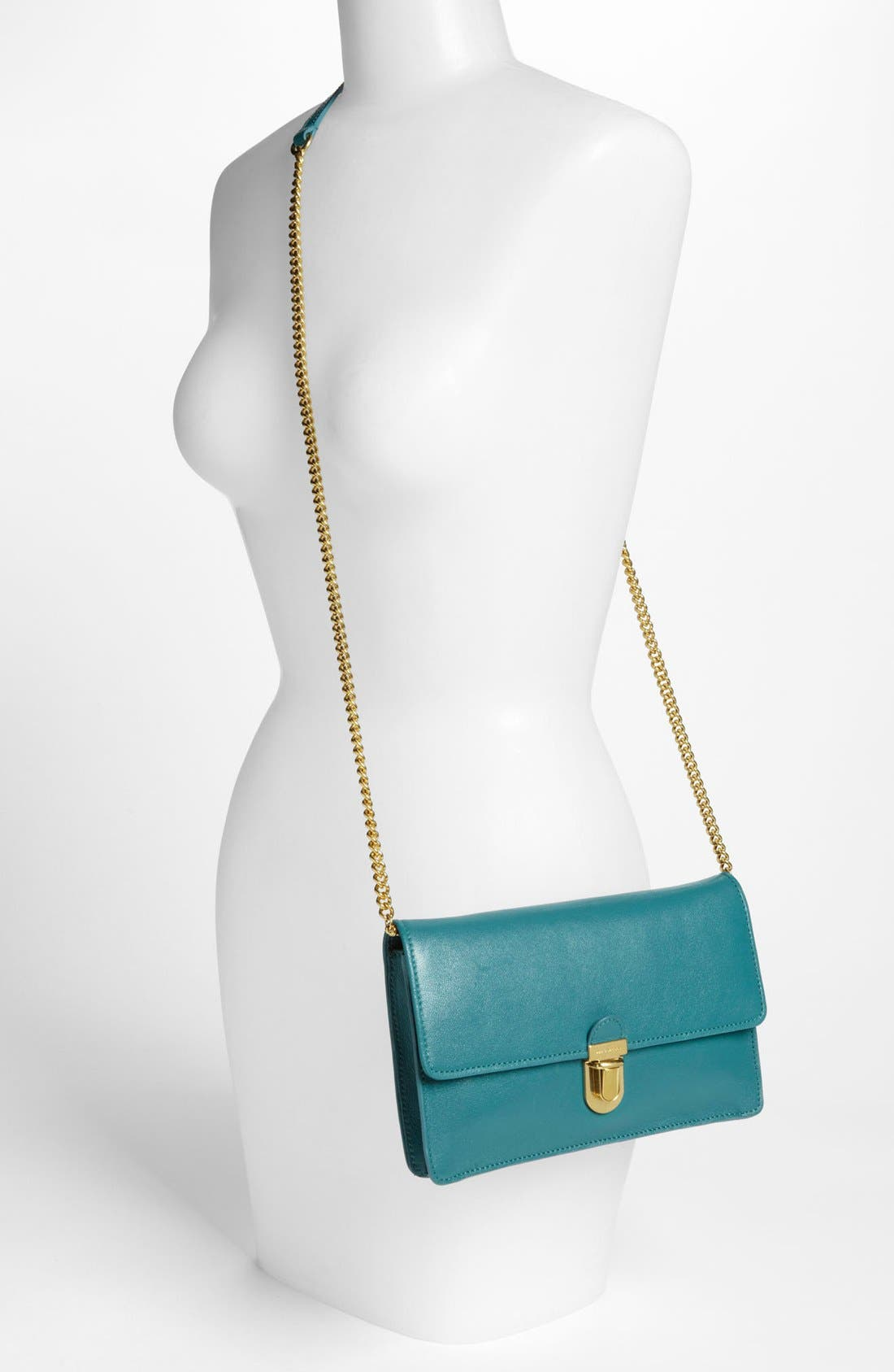 Leather Clutch,                             Alternate thumbnail 2, color,                             Peacock