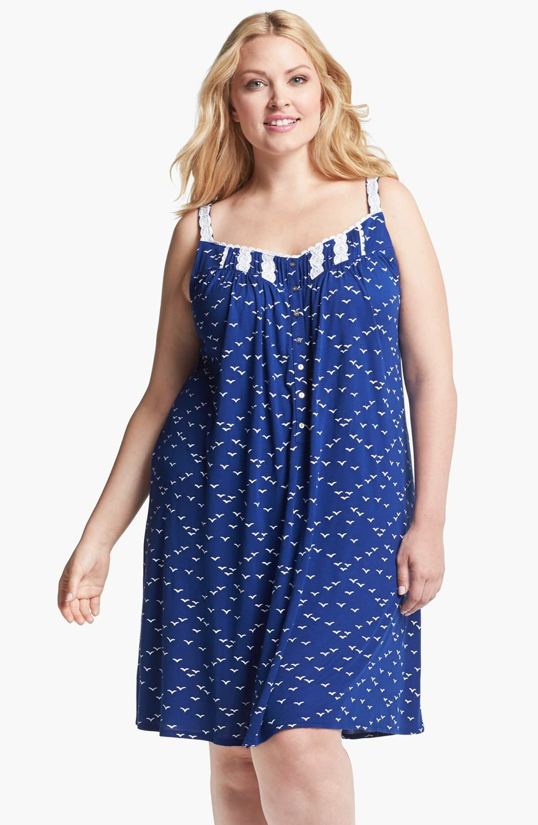 Alternate Image 1 Selected - Eileen West 'Set Sail' Sleeveless Nightgown (Plus Size)