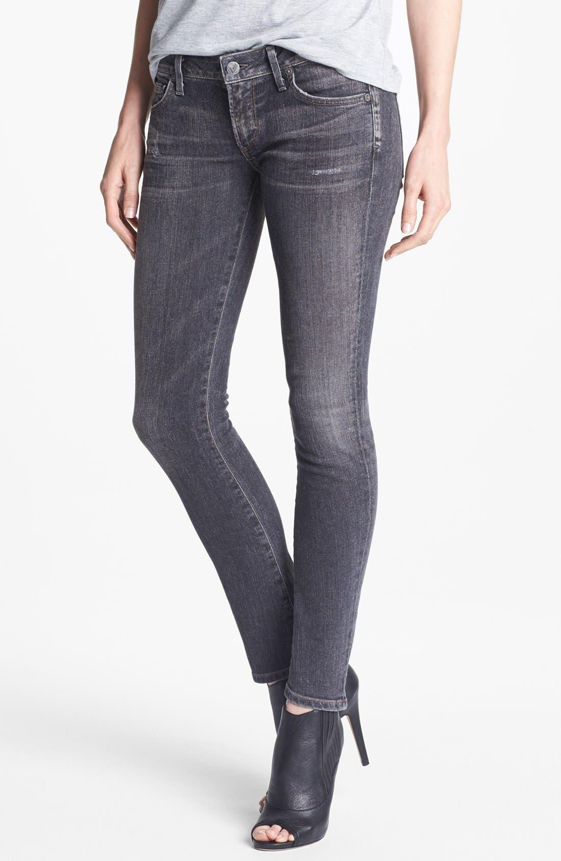 'Racer' Low Rise Skinny Jeans,                             Main thumbnail 1, color,                             Black Slash