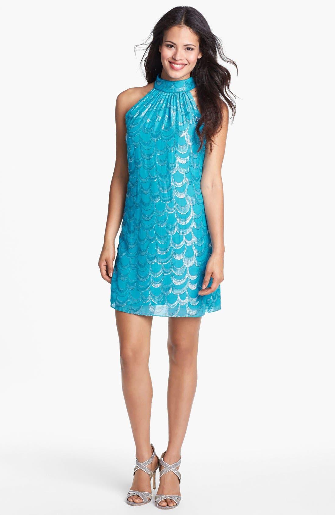 Alternate Image 1 Selected - Laundry by Shelli Segal Metallic Back Bow Trapeze Dress