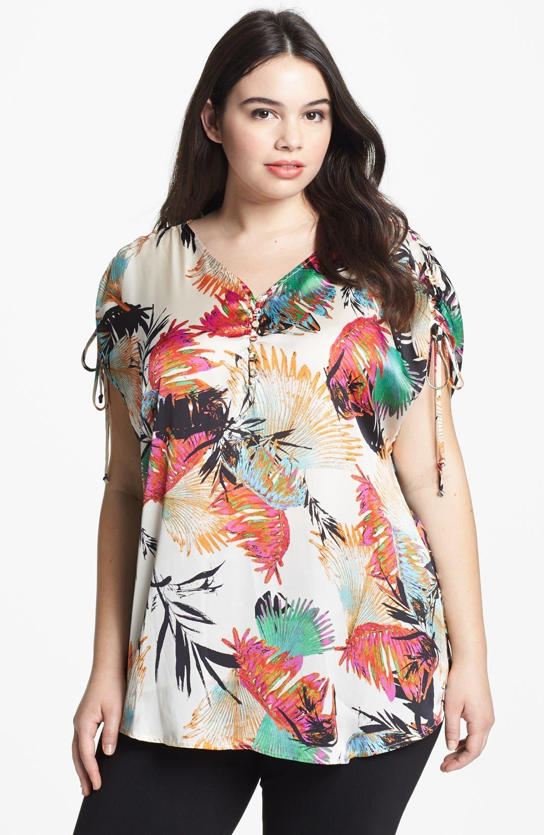 Main Image - Daniel Rainn Shirred Print Shirt (Plus Size)