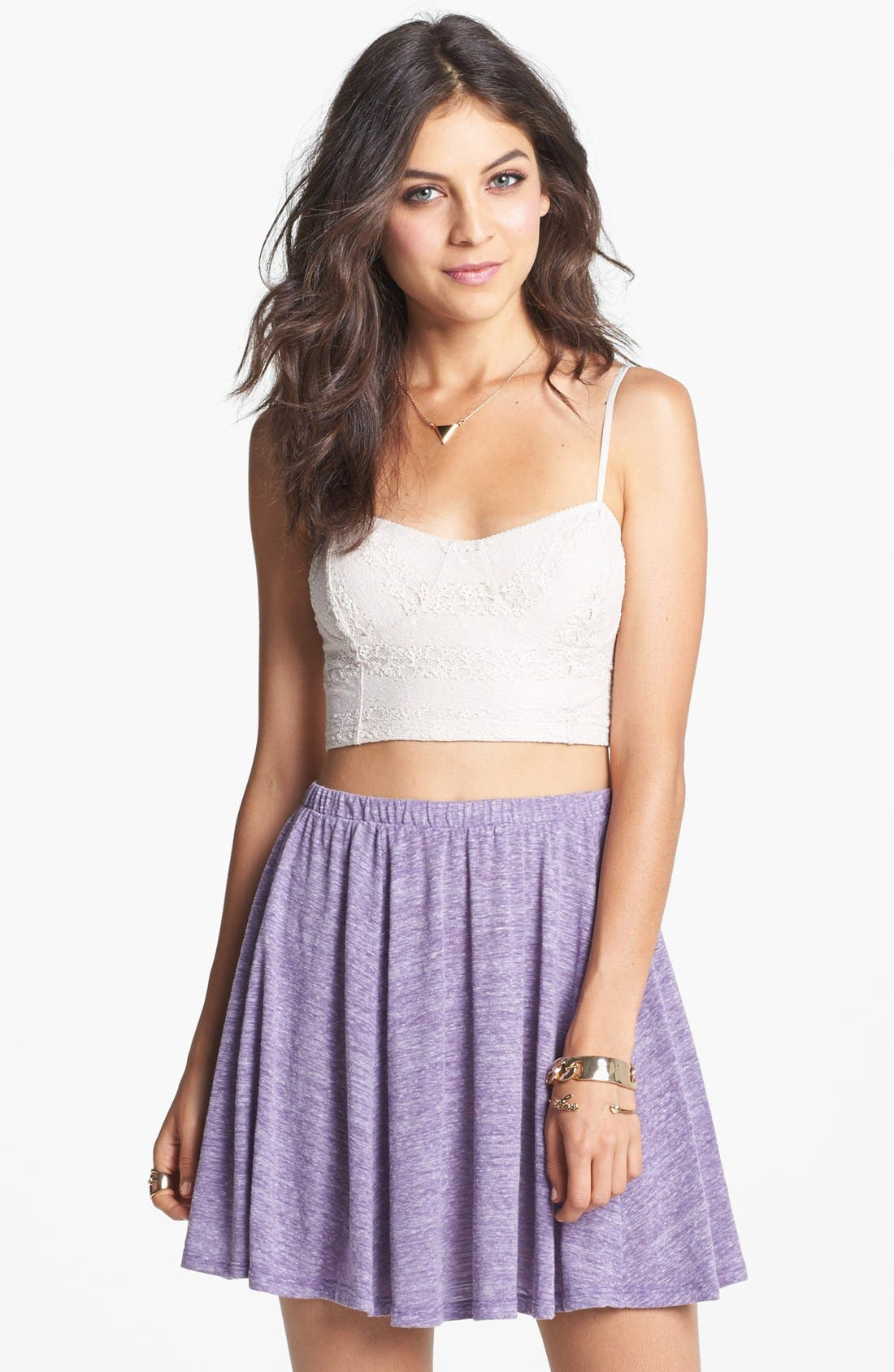 Main Image - h.i.p. Heathered Skater Skirt (Juniors)