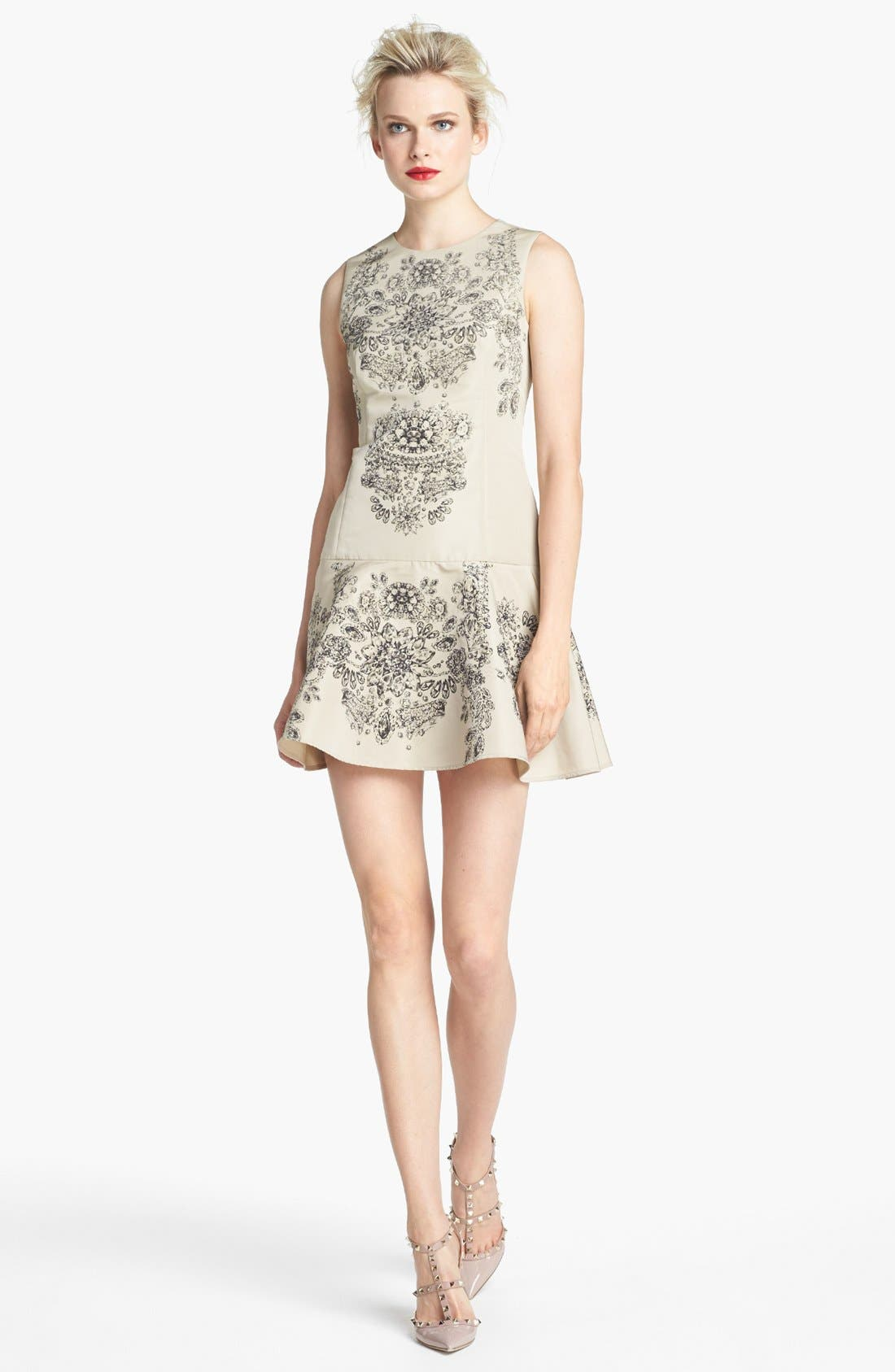 Main Image - RED Valentino Floral Print Drop Waist Dress