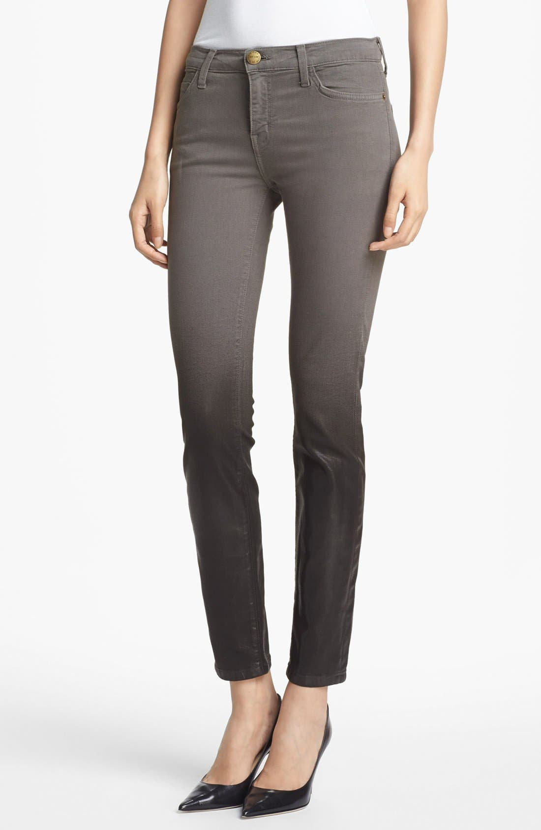 Main Image - Current/Elliott 'The Stiletto' Coated Stretch Jeans (Ombré Coated Dark Castle)