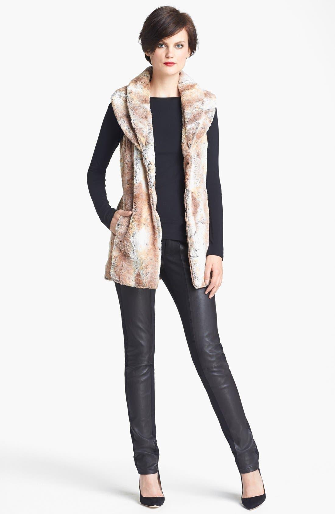 Main Image - Alice + Olivia 'Annistyn' Long Faux Fur Vest