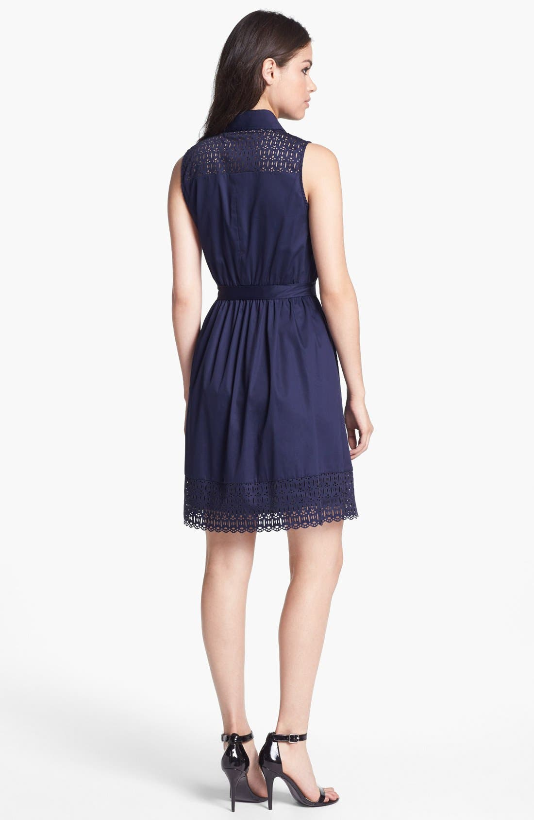 Alternate Image 2  - Laundry by Shelli Segal Sleeveless Laser Cut Shirtdress