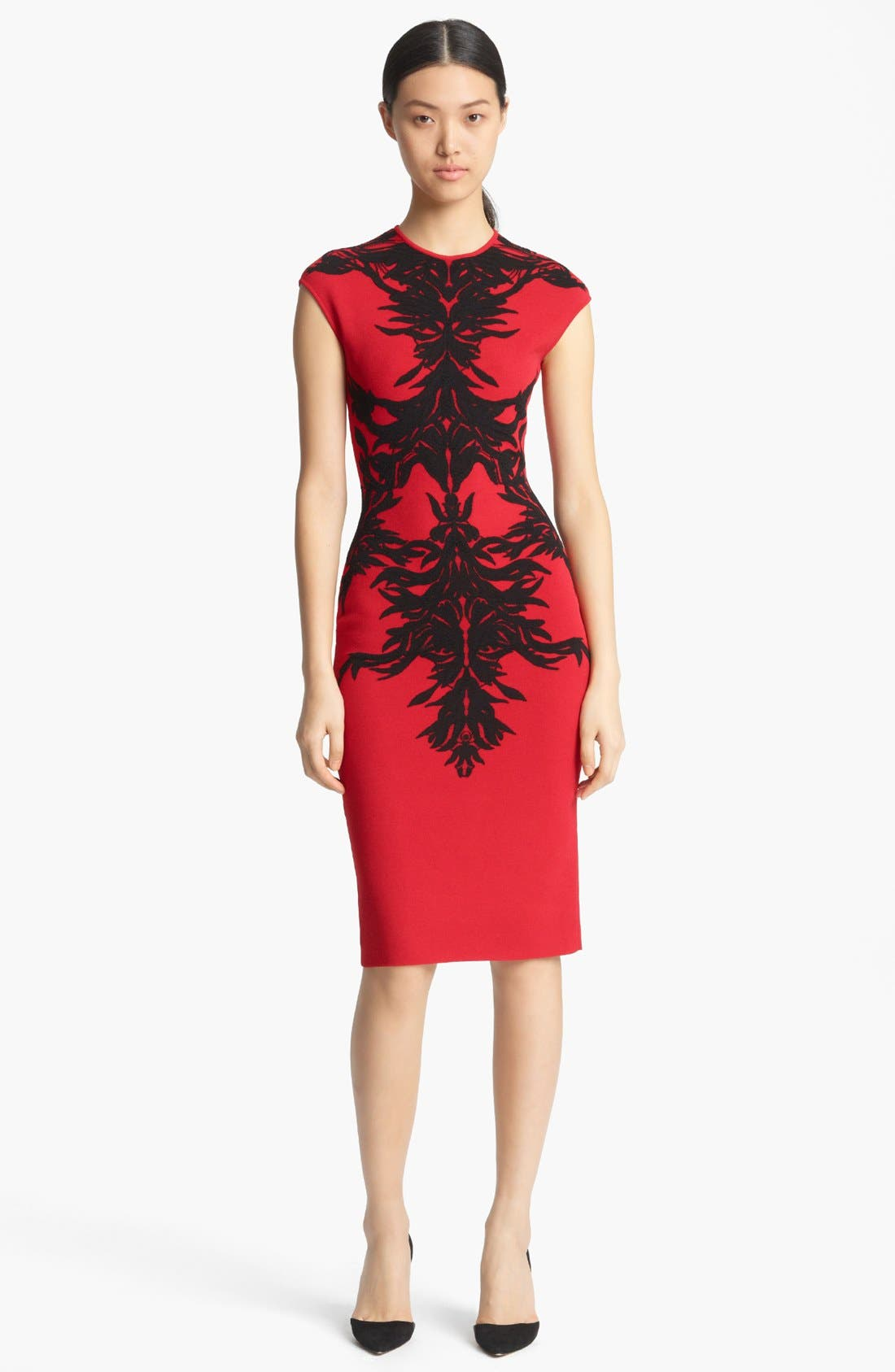 Alternate Image 1 Selected - Alexander McQueen Spine Print Intarsia Knit Dress
