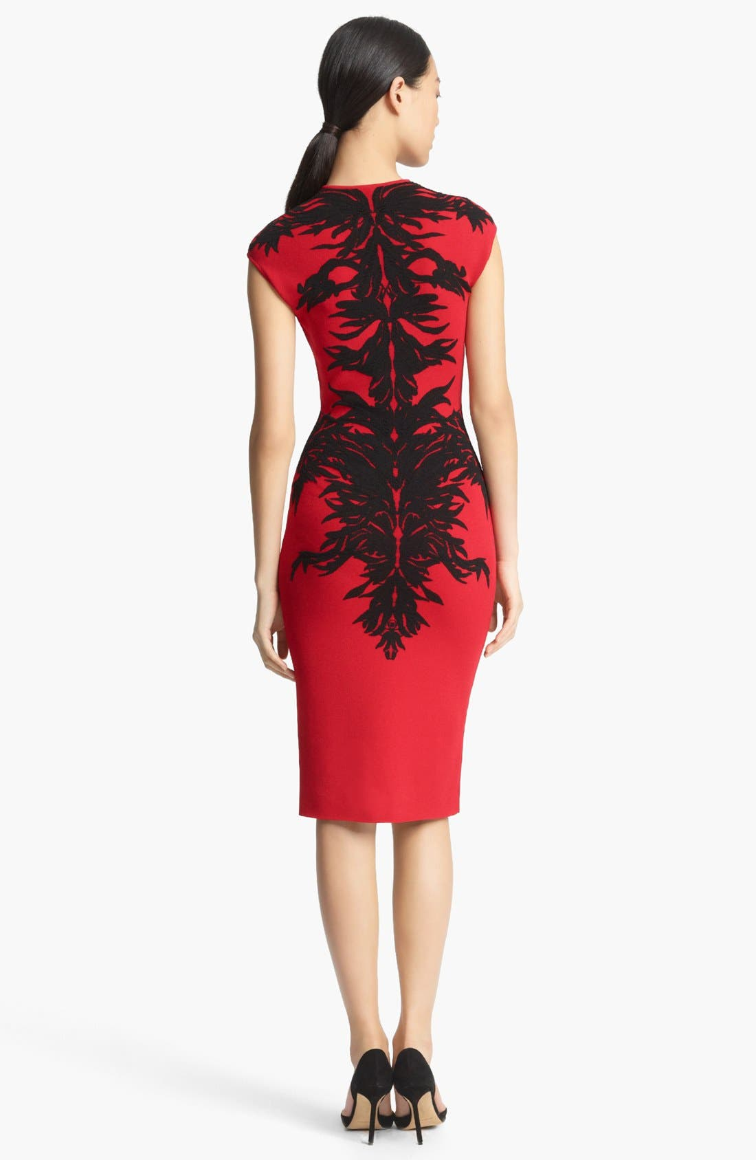 Alternate Image 2  - Alexander McQueen Spine Print Intarsia Knit Dress