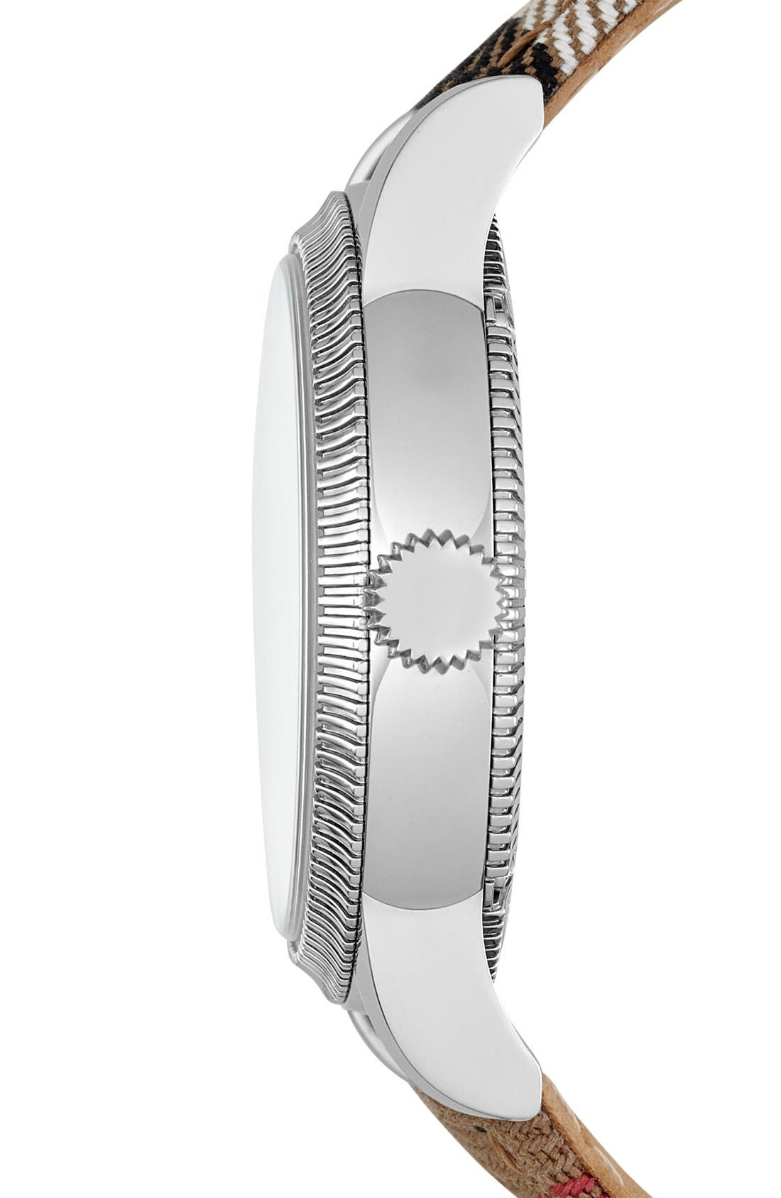 Alternate Image 4  - Burberry Round Dial Check Strap Watch, 38mm