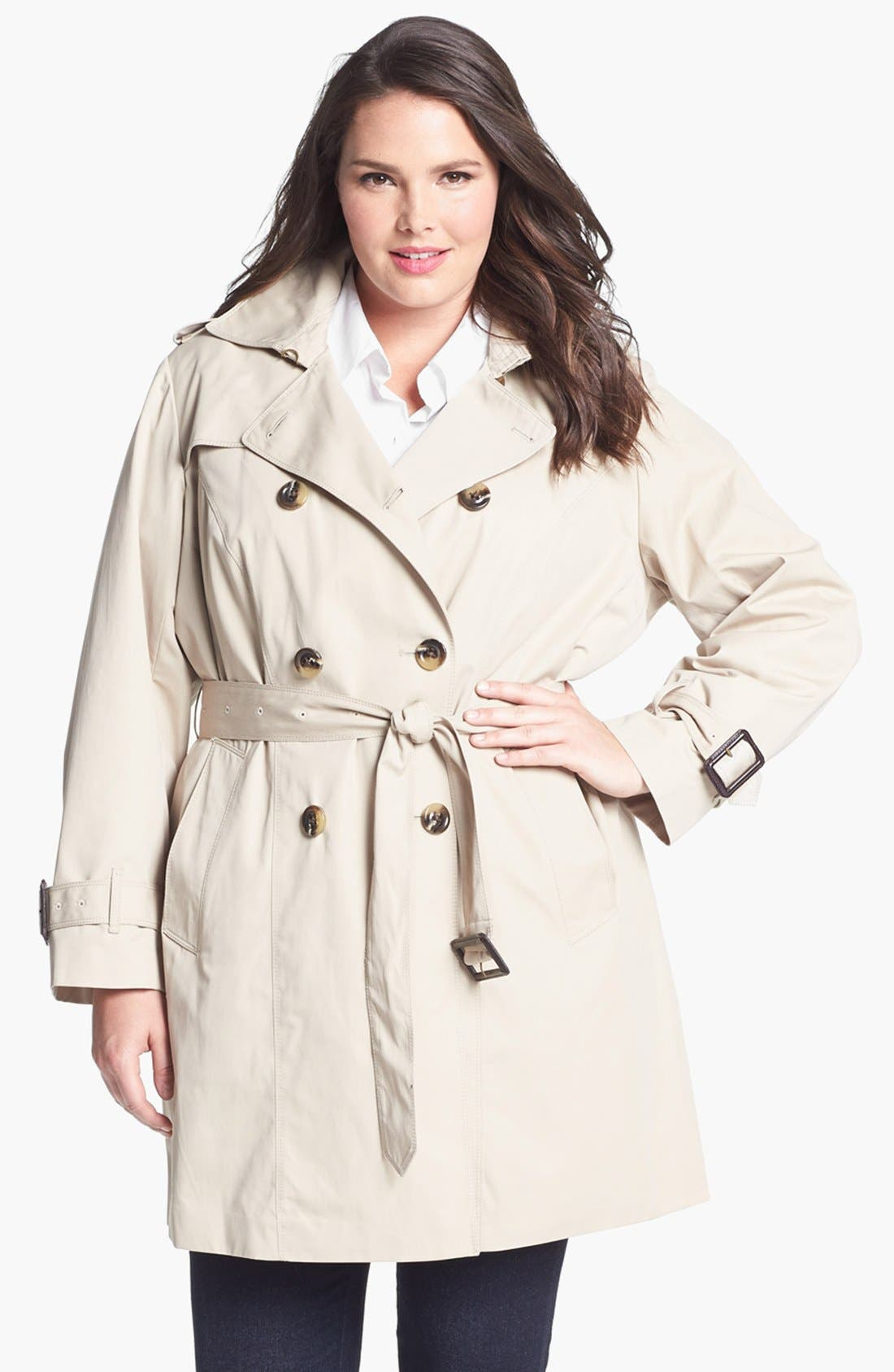 Main Image - London Fog Heritage Trench with Detachable Liner (Plus Size)