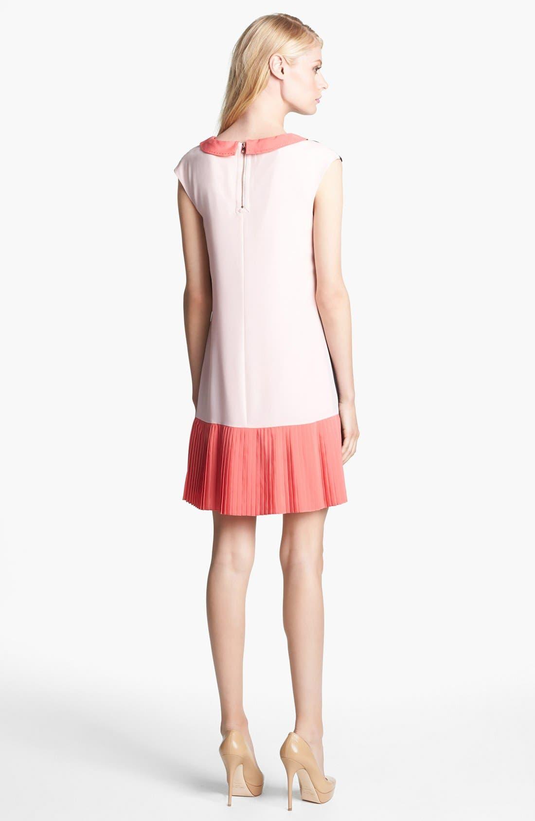 Alternate Image 2  - Ted Baker London Colorblock Pleated Crepe Shift Dress