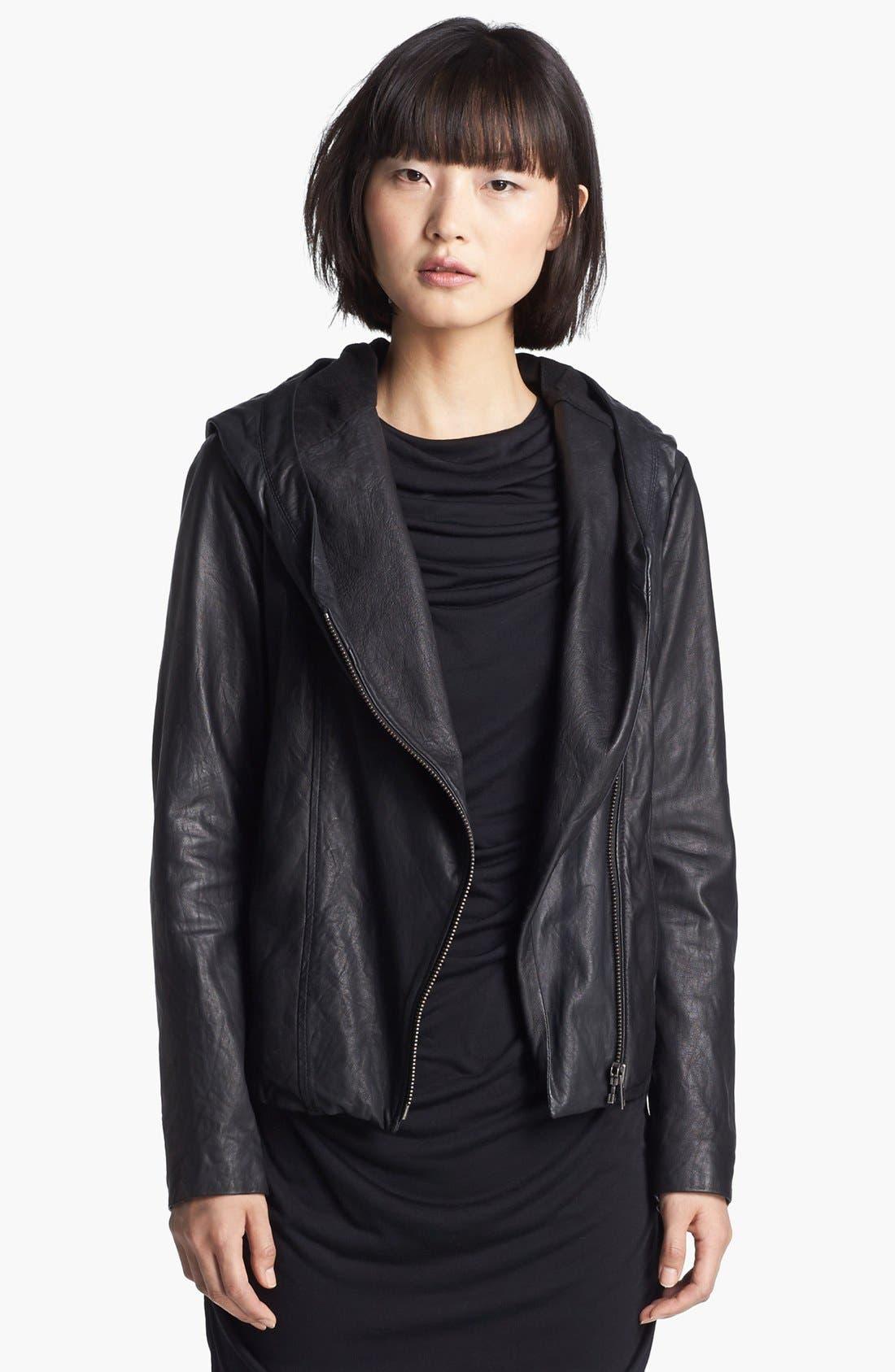Alternate Image 4  - HELMUT Helmut Lang Hooded Washed Leather Jacket