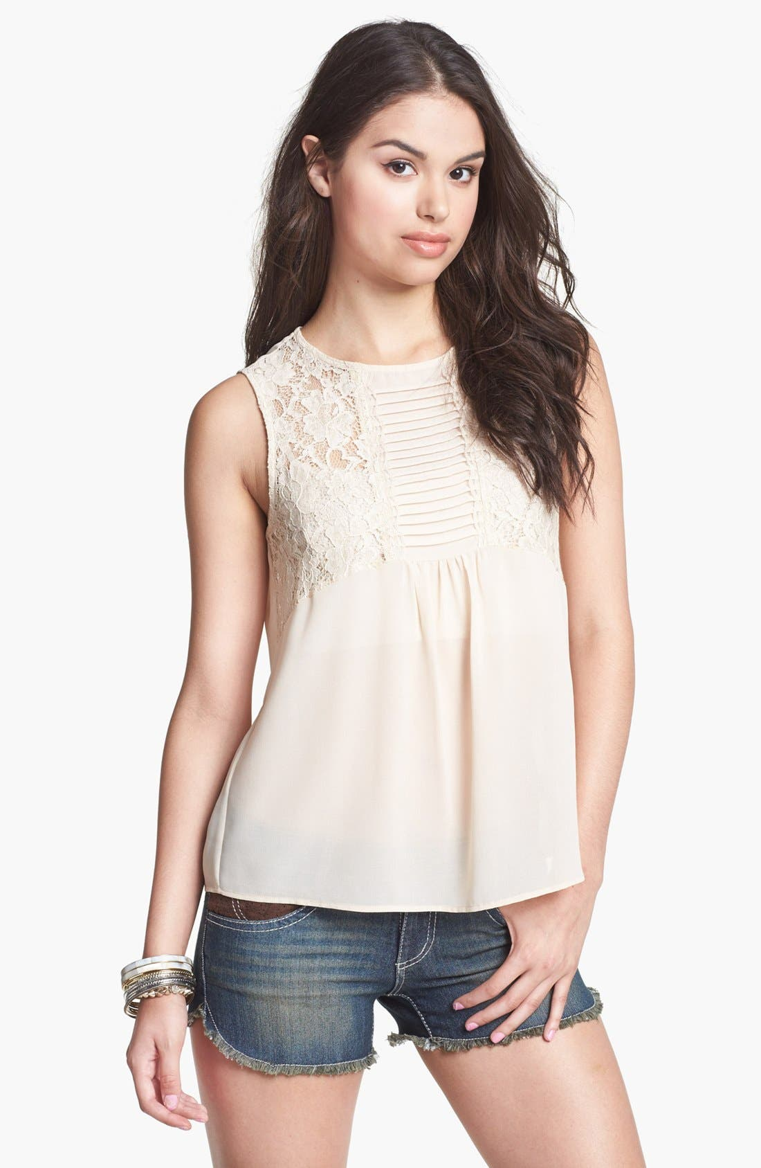 Alternate Image 1 Selected - Haute Society Lace Inset Tank (Juniors)
