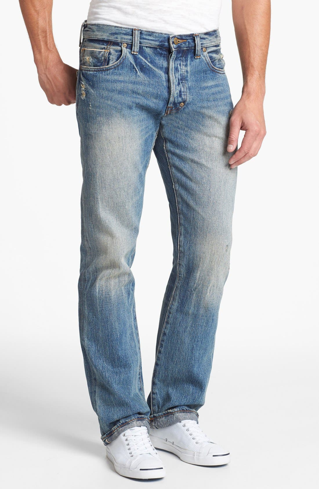'Barracuda' Straight Leg Selvedge Jeans,                         Main,                         color, 5 Year Wash