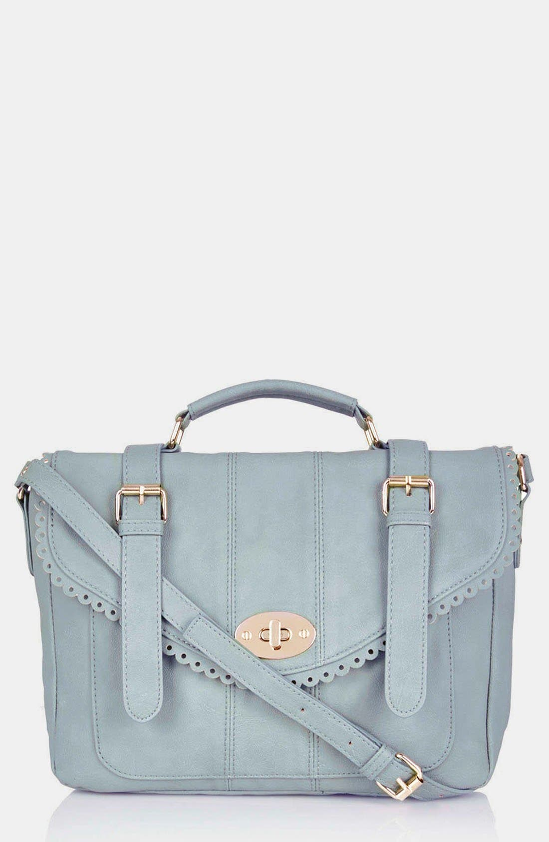 Alternate Image 1 Selected - Topshop Cutwork Trim Faux Leather Satchel, Medium