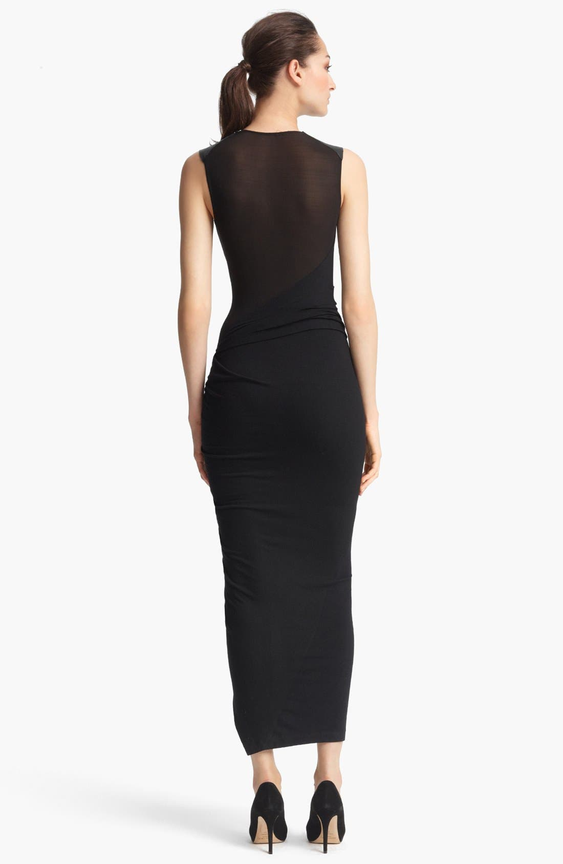 Alternate Image 2  - Donna Karan Collection Sleeveless Leather & Jersey Dress