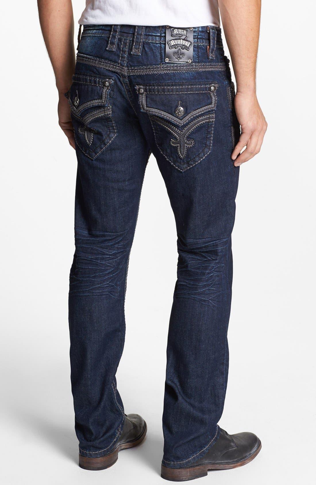 Main Image - Rock Revival 'Ben' Alternative Straight Leg Jeans (Dark Blue )
