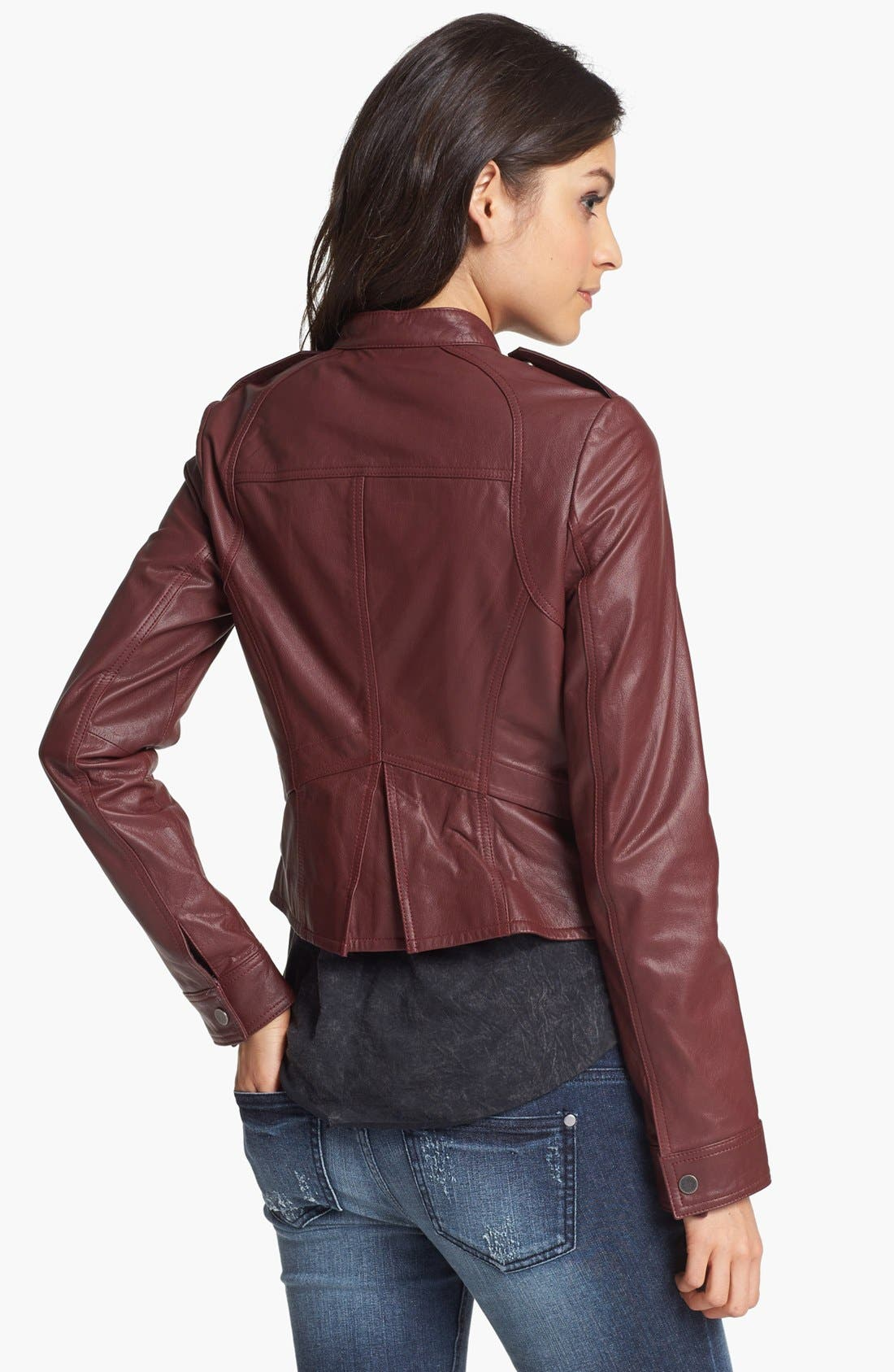 Alternate Image 2  - Collection B Leather Moto Jacket (Juniors)