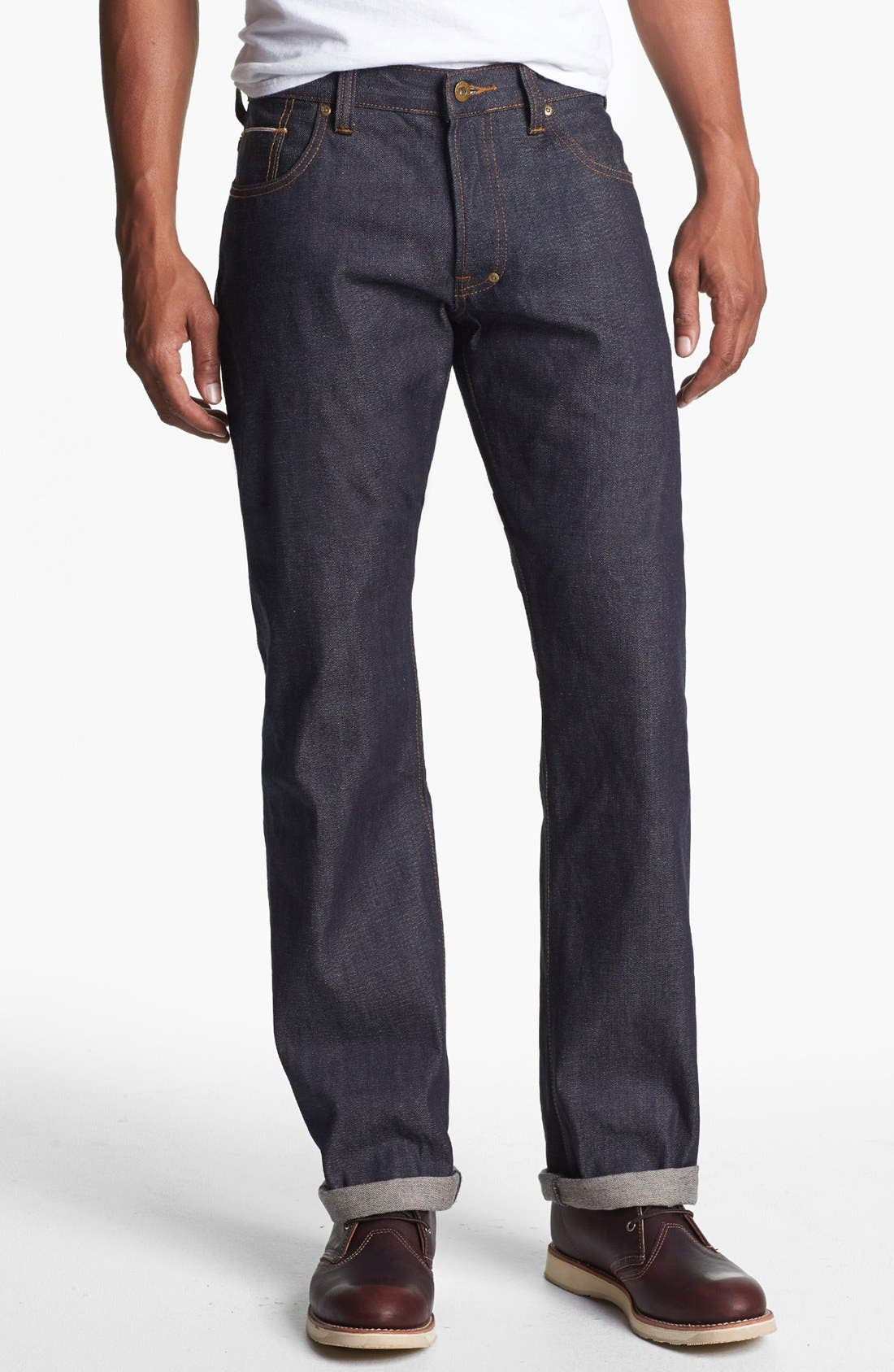 Alternate Image 1 Selected - PRPS 'Barracuda' Straight Leg Selvedge Jeans (Raw)