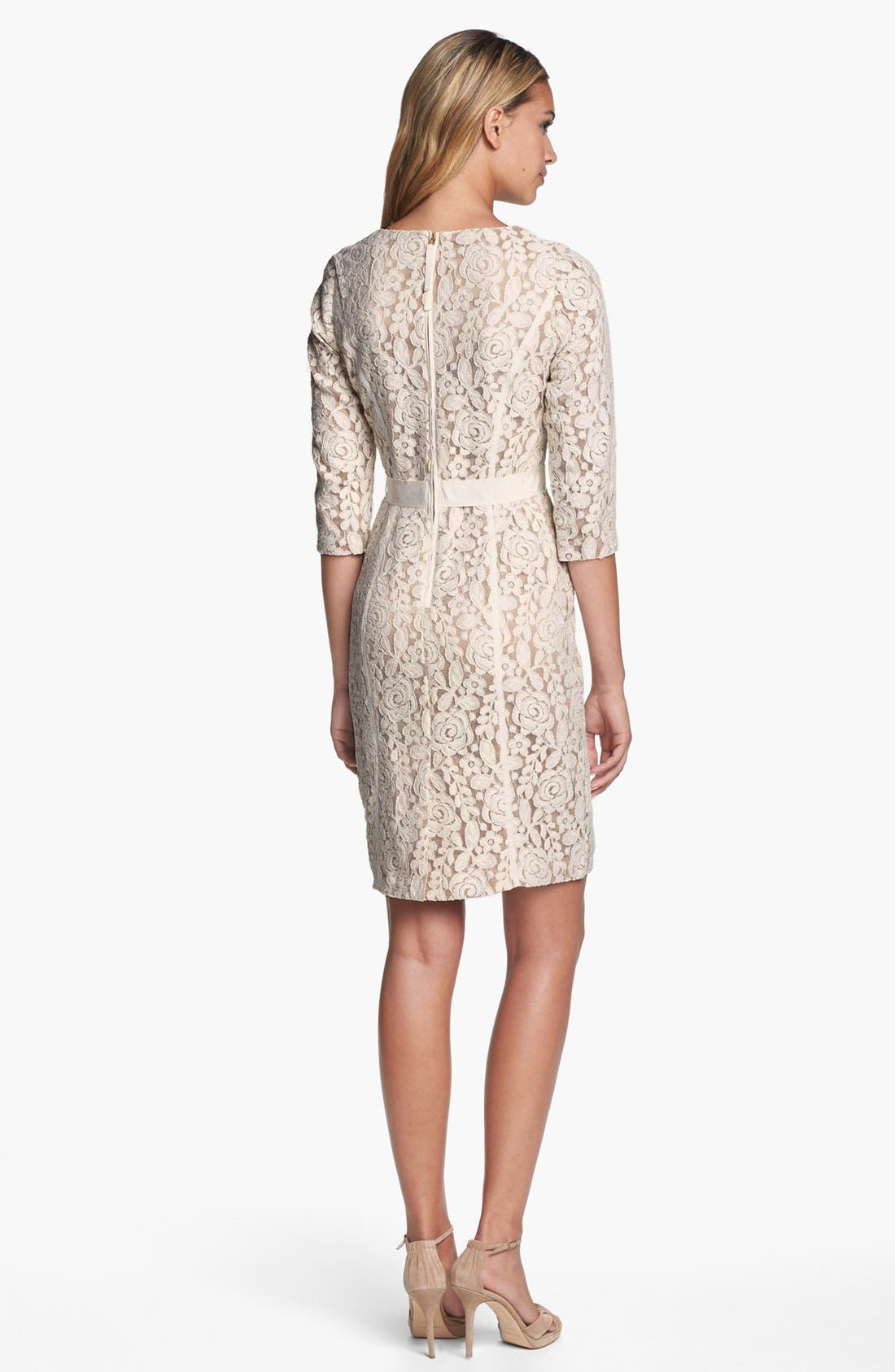 Alternate Image 2  - Taylor Dresses Ribbon Trim Lace Sheath Dress