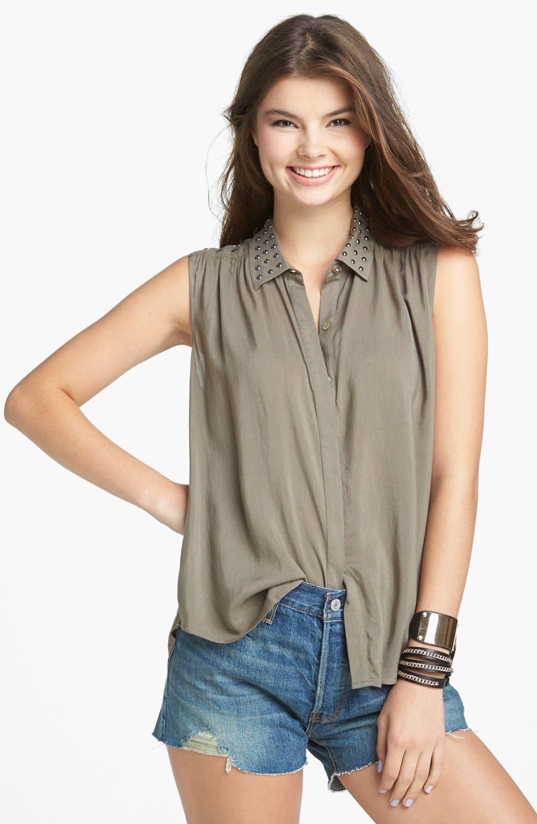 Alternate Image 1 Selected - Chloe K Studded Yoke Sleeveless Shirt (Juniors)