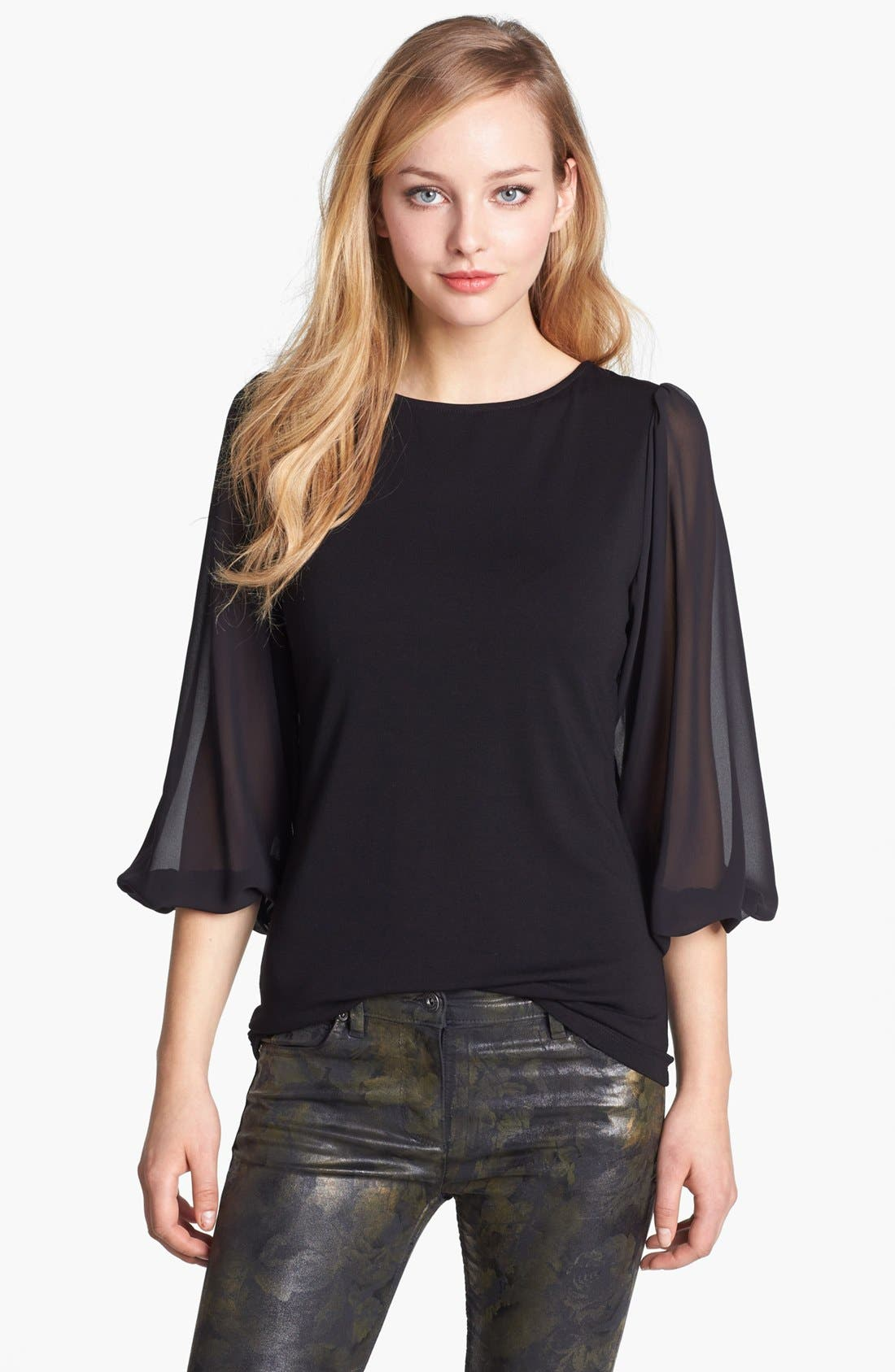 Alternate Image 1 Selected - Vince Camuto Chiffon Sleeve Knit Top (Petite)