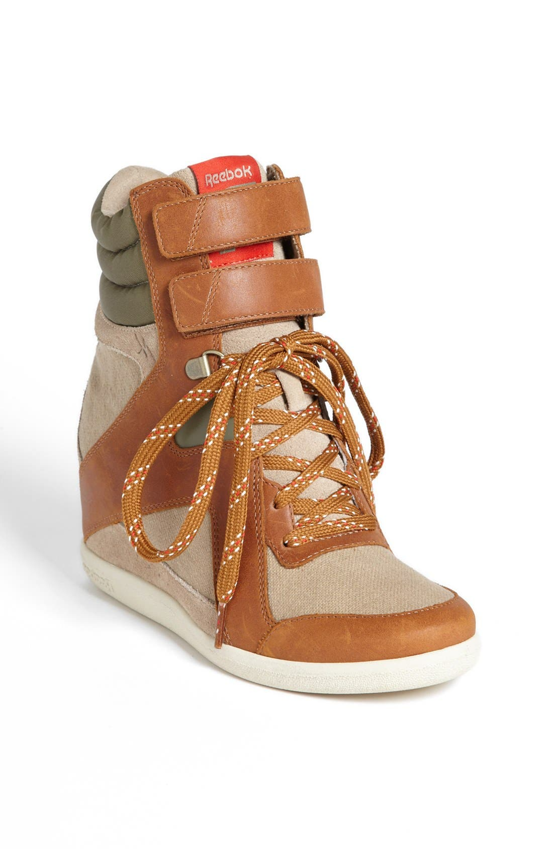'Wedge A. Keys' Sneaker,                             Main thumbnail 1, color,                             Canvas/ Brown/ Green/ Red
