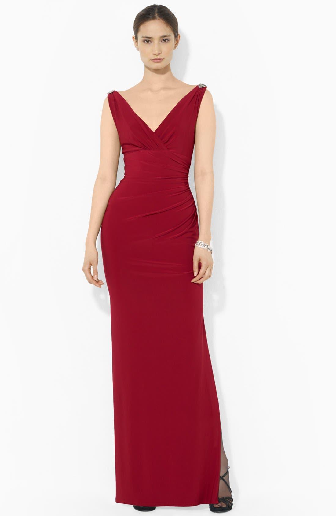 Main Image - Lauren Ralph Lauren Empire Matte Jersey Gown