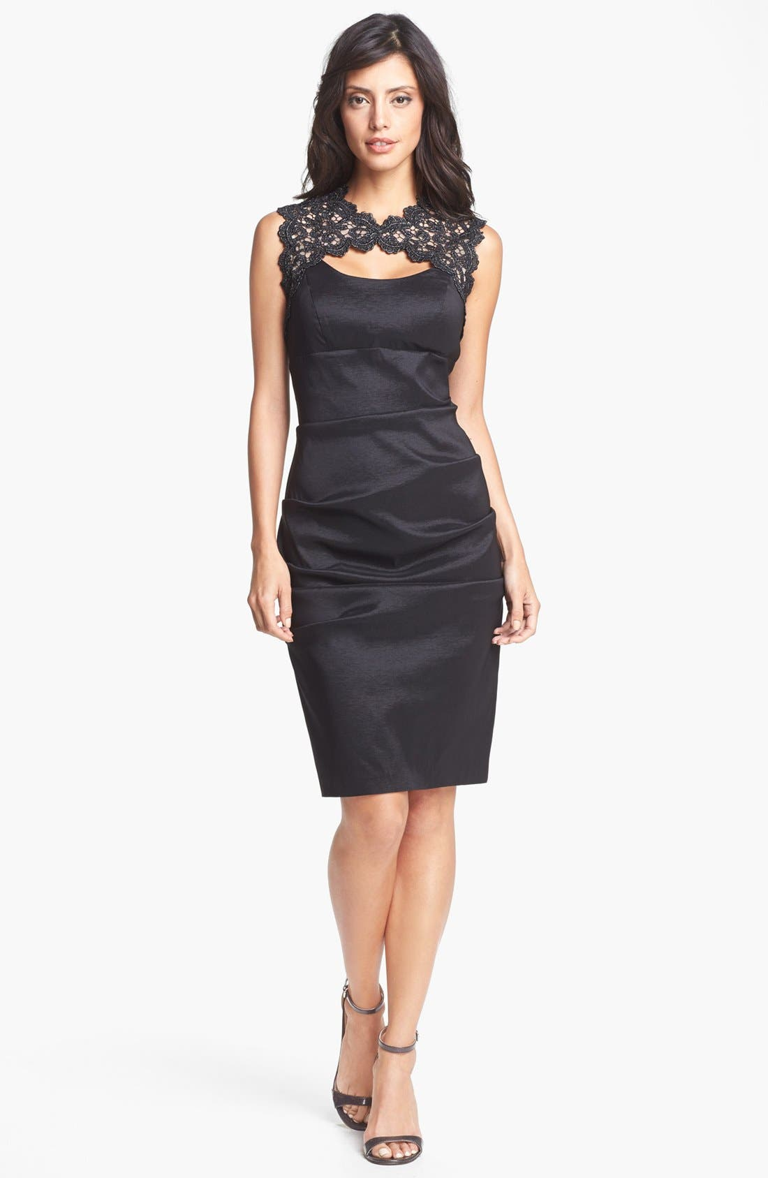 Main Image - Xscape Lace Yoke Ruched Taffeta Sheath Dress